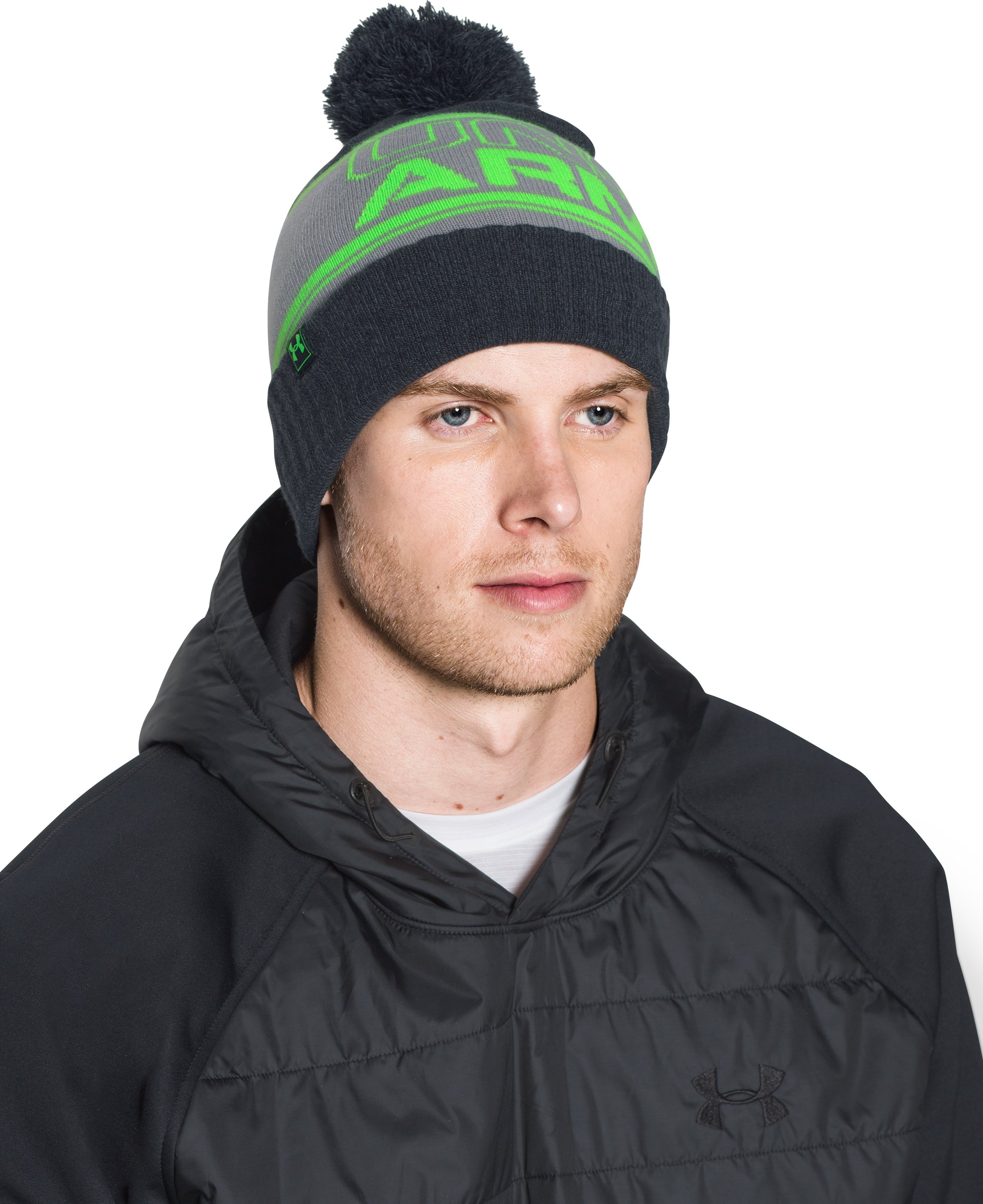 Men's UA Retro Pom Beanie, STEALTH GRAY, undefined