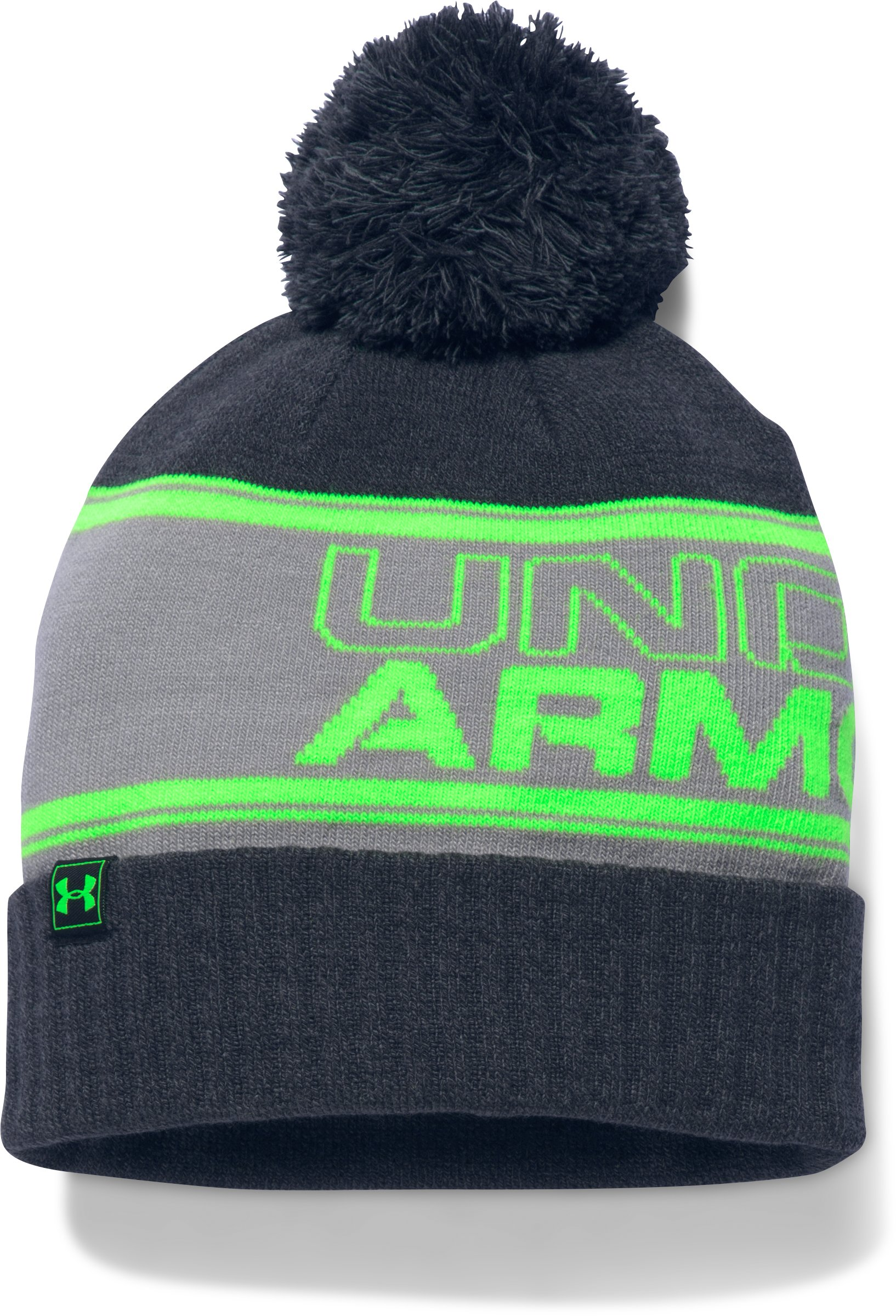 Men's UA Retro Pom Beanie, STEALTH GRAY