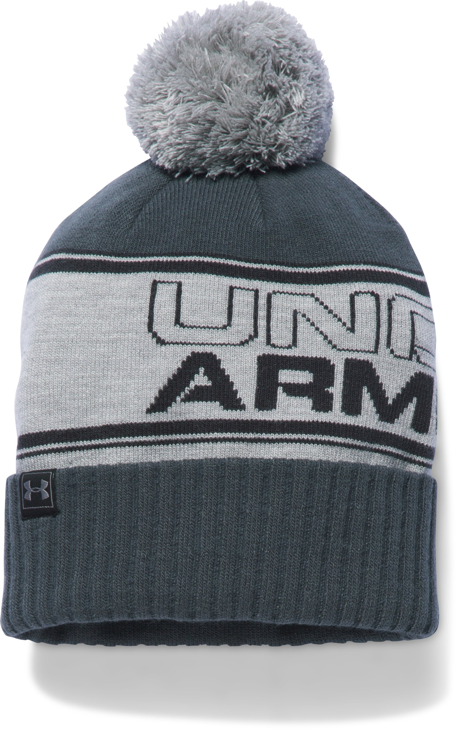 Men's UA Retro Pom Beanie, True Gray Heather