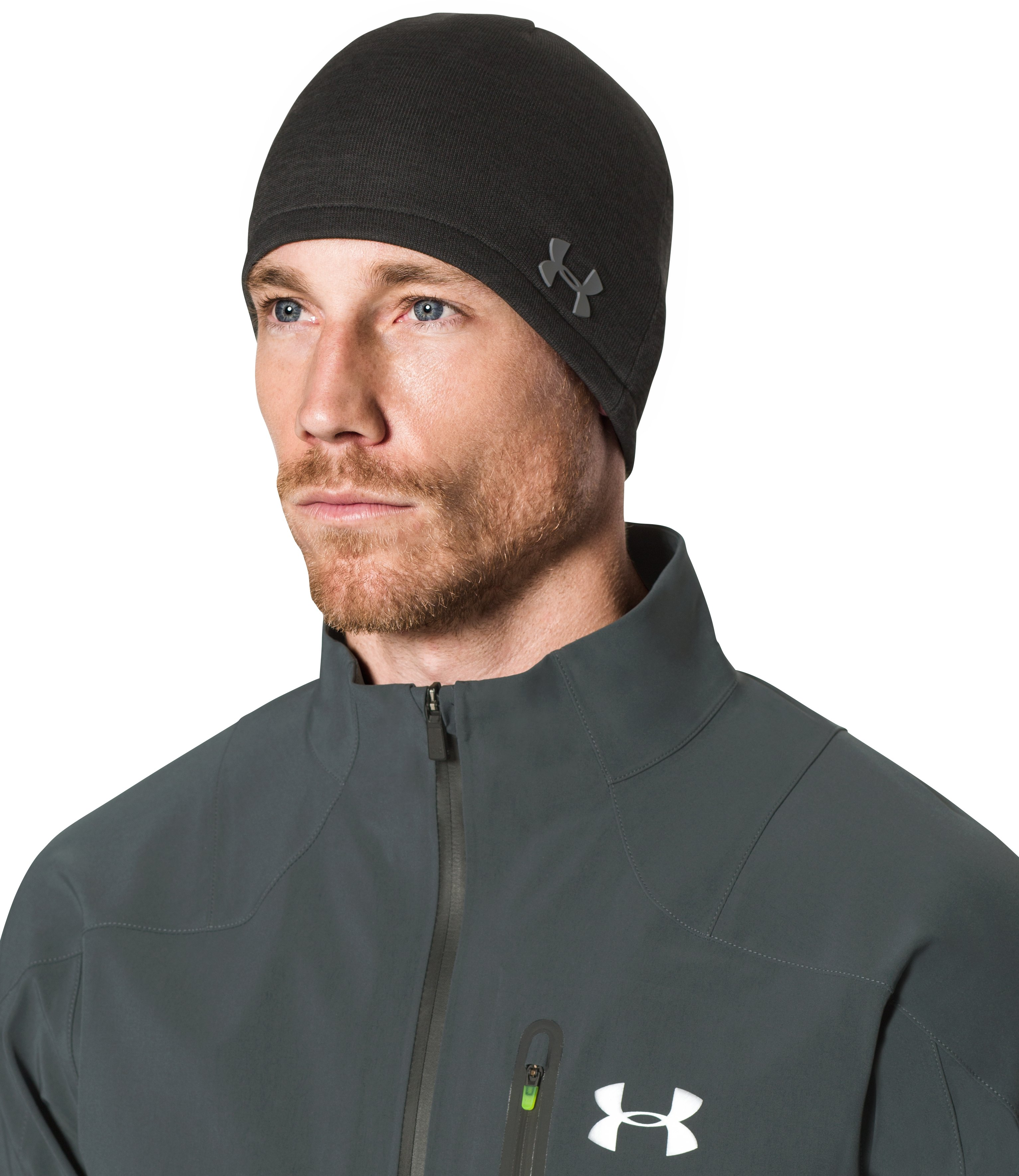 Men's UA ColdGear® Infrared Golf Sweater Fleece Beanie, Asphalt Heather, undefined