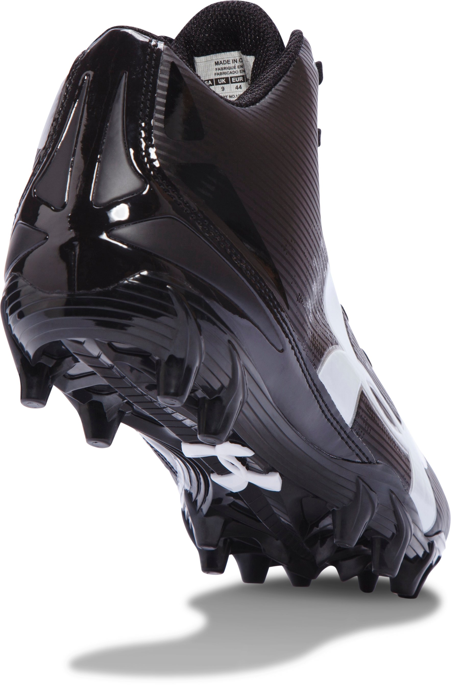 Men's UA Fierce Phantom Mid MC Football Cleats, Black ,
