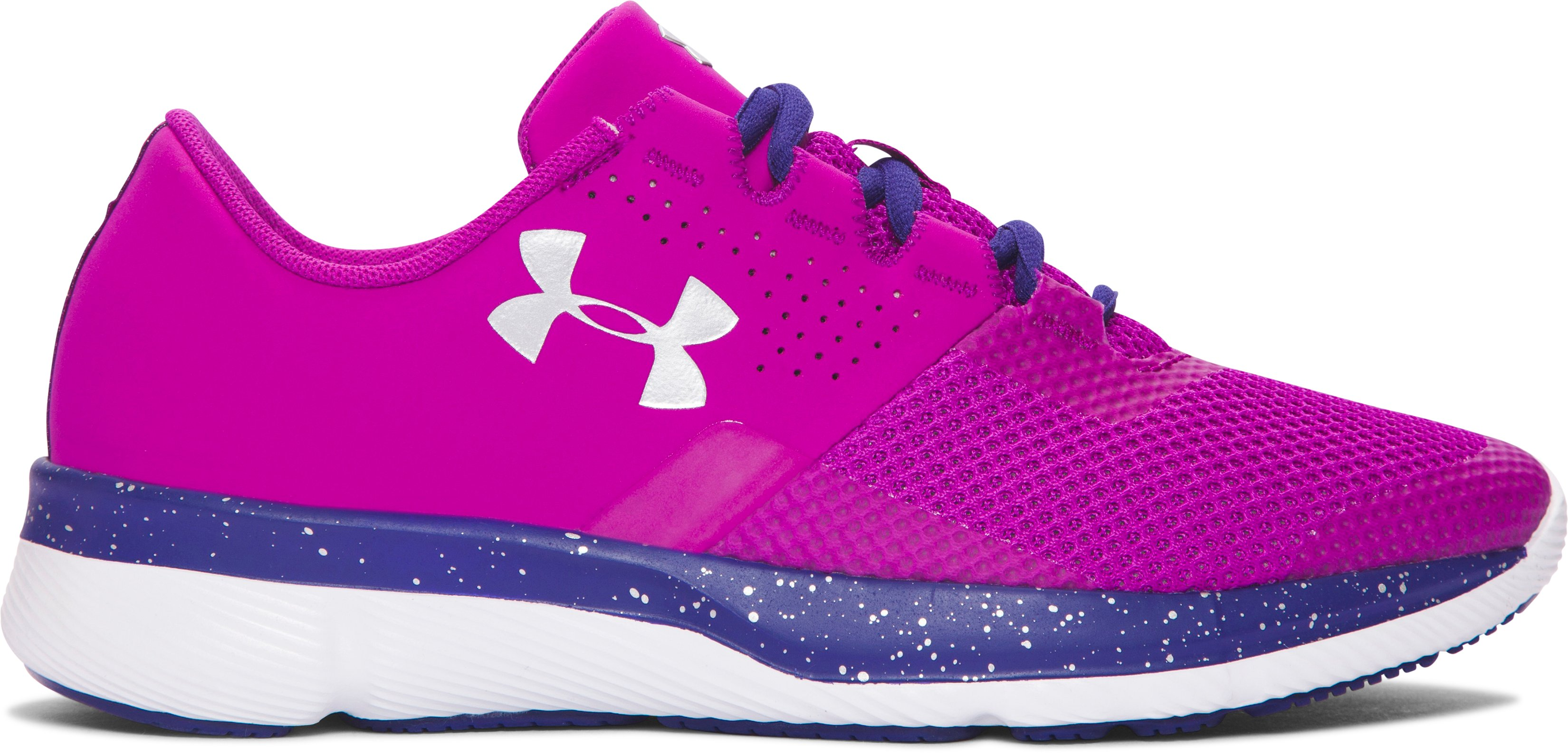 Girls' Grade School UA Tempo Speckle Running Shoes, PURPLE LIGHTS,
