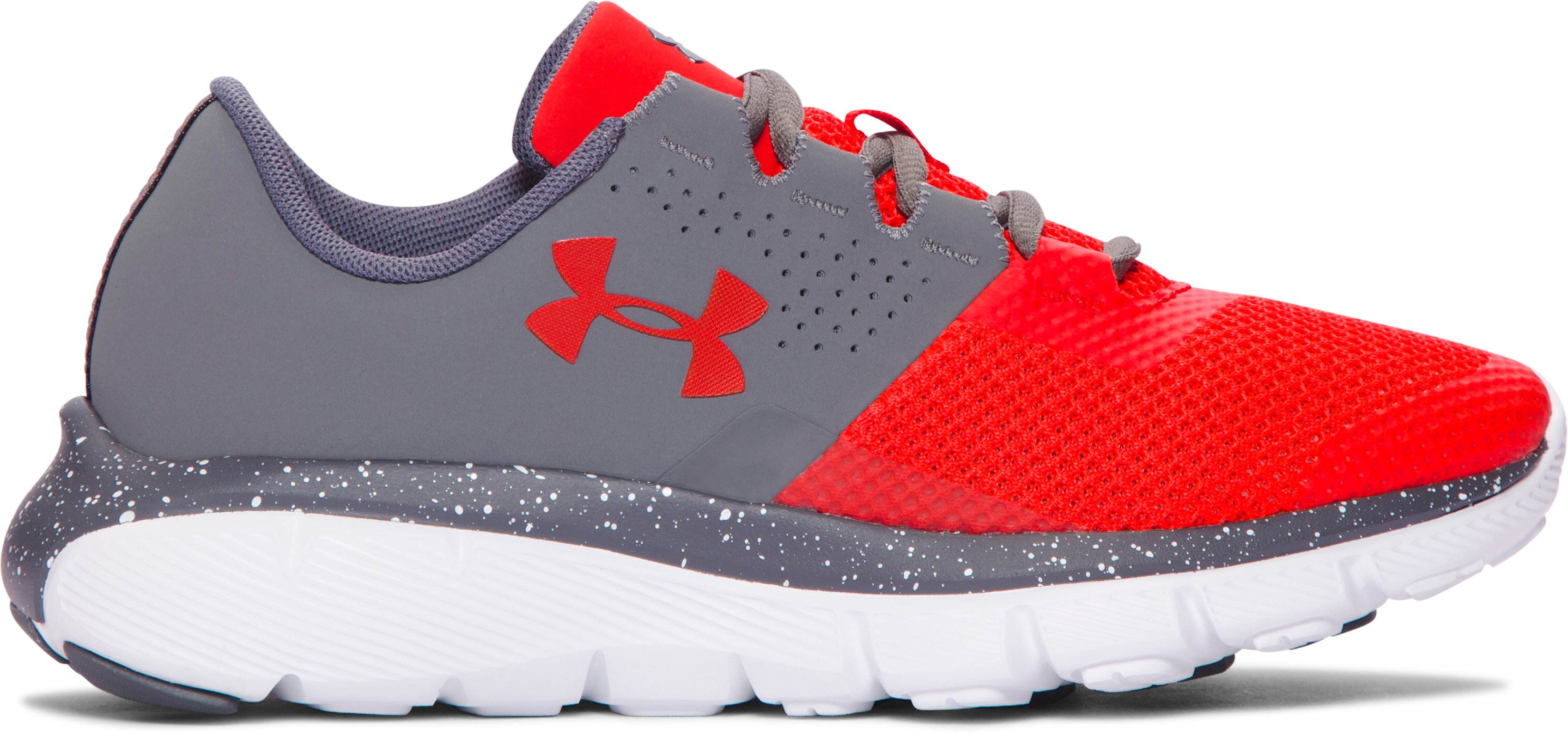 Boys' Grade School UA Fortis 2 Speckle Running Shoes, Graphite,