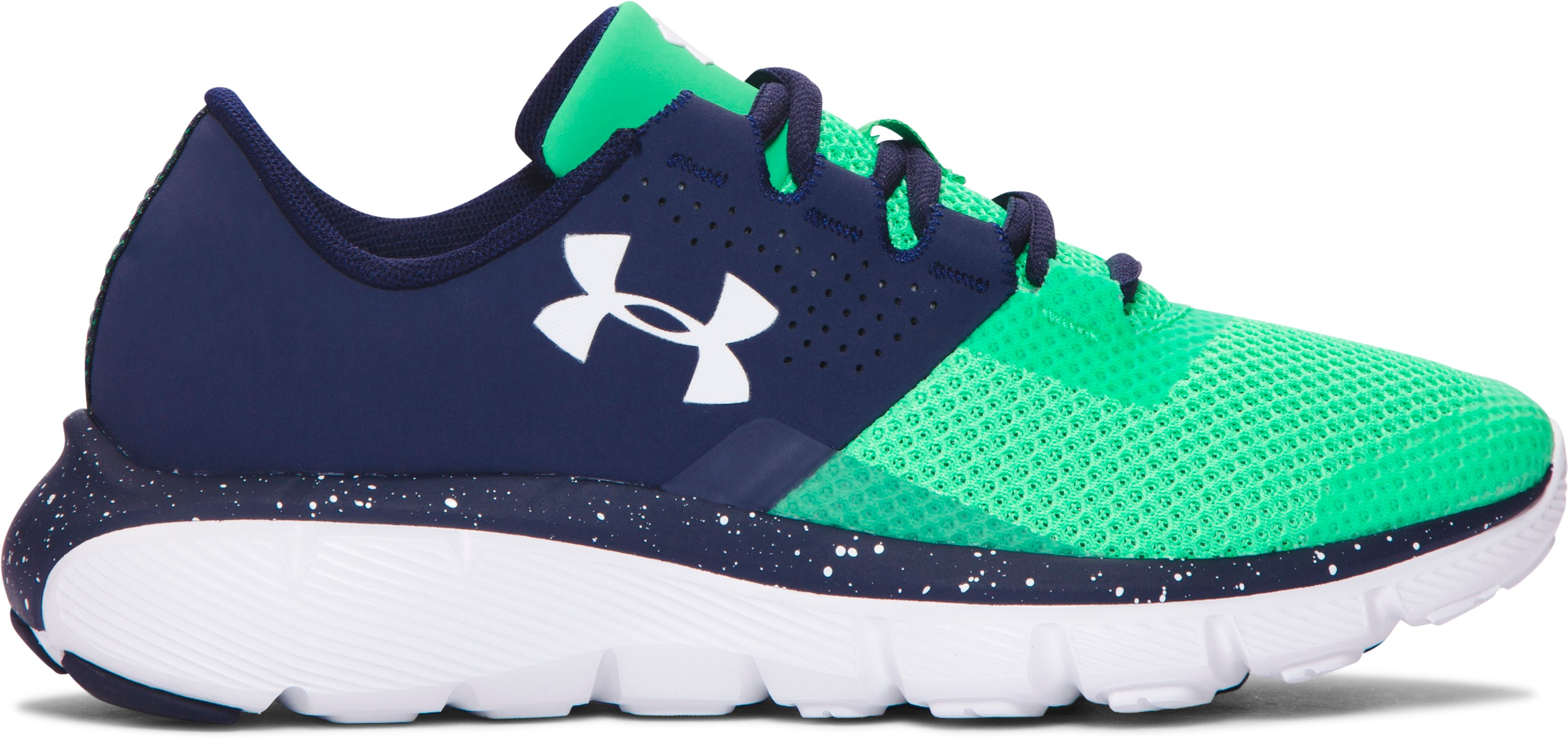 Boys' Grade School UA Fortis 2 Speckle Running Shoes, Midnight Navy, zoomed image
