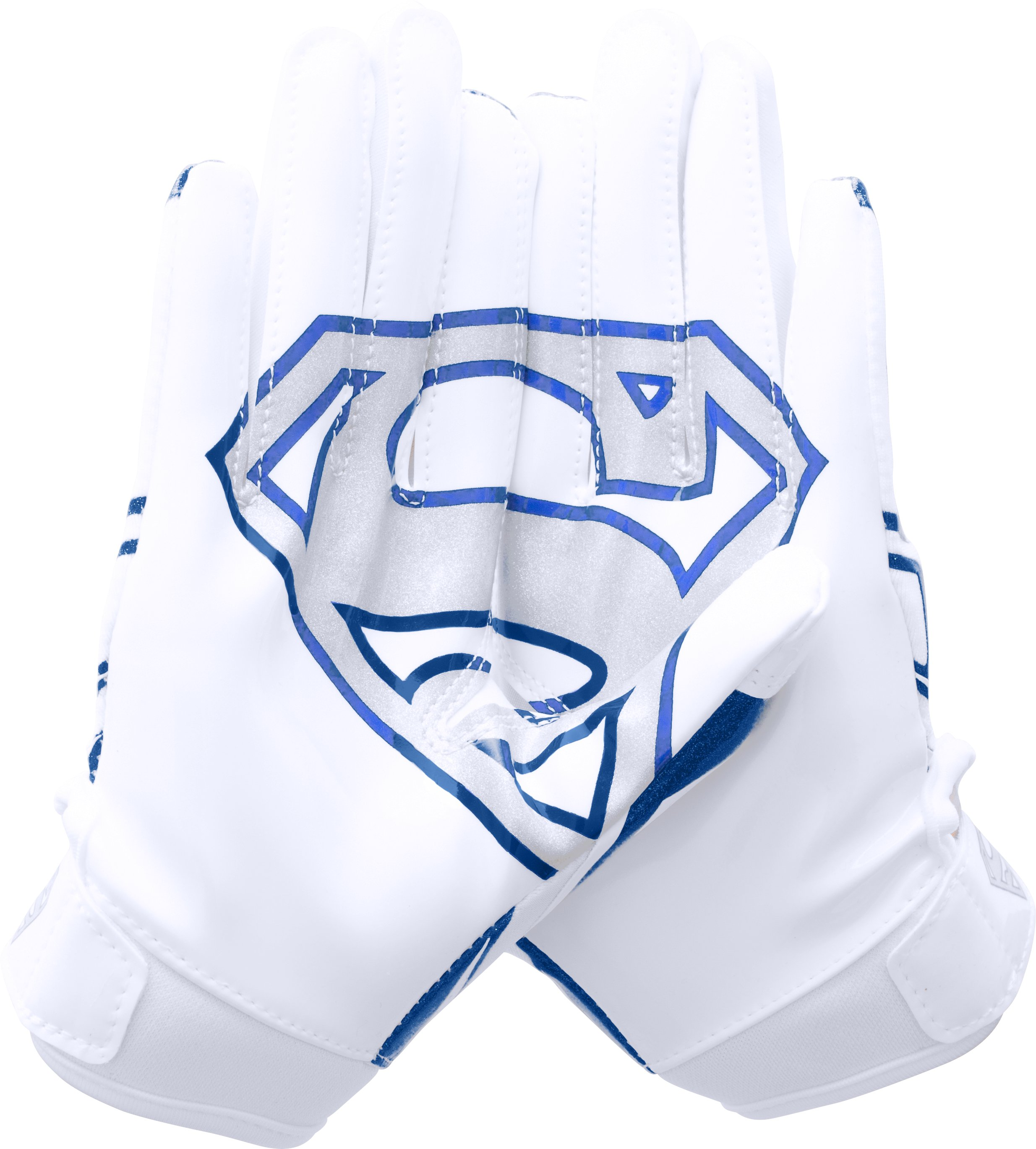 Boys' Under Armour® Alter Ego Superman F5 Football Gloves, White, zoomed image