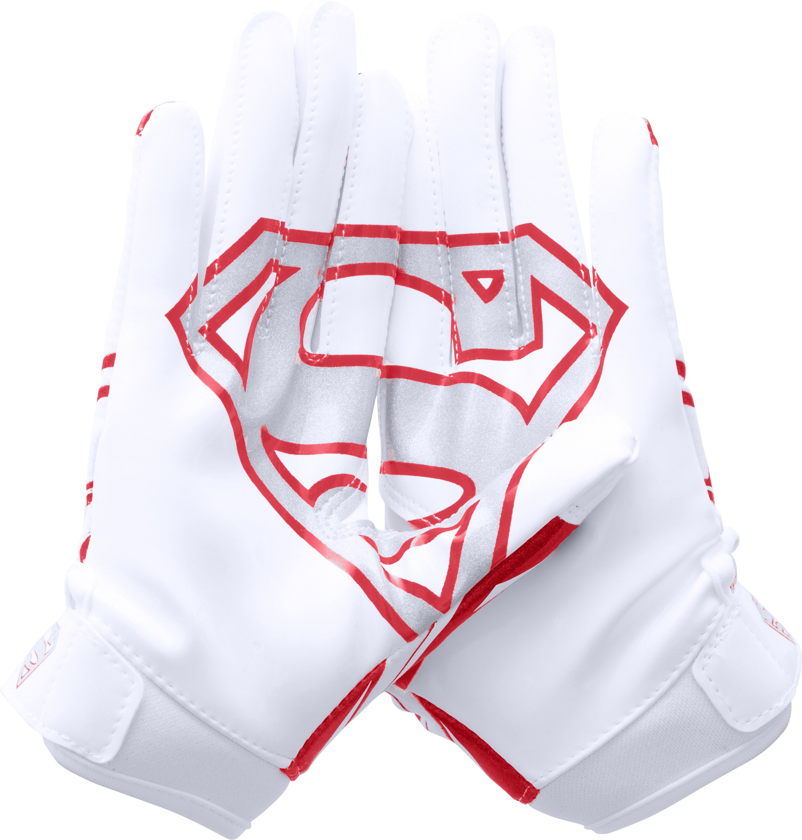 Boys' Under Armour® Alter Ego Superman F5 Football Gloves, White, undefined