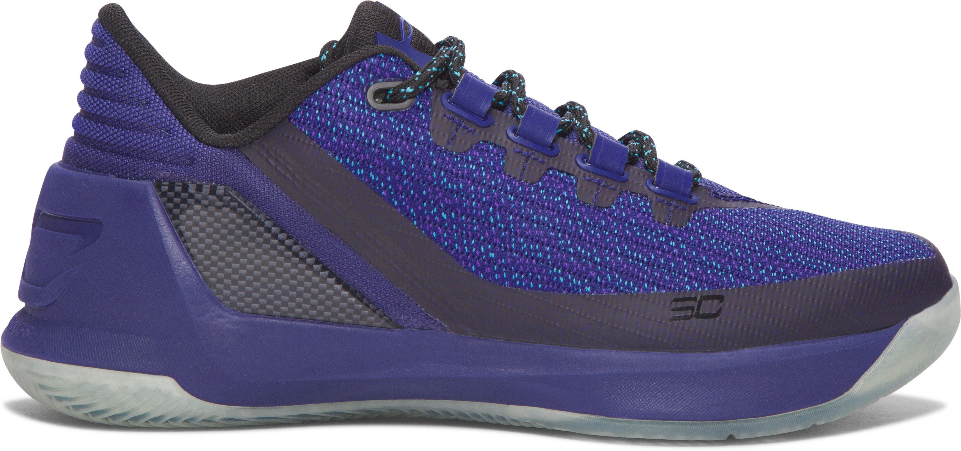 Boys' Grade School UA Curry 3 Low Basketball Shoes, EUROPA PURPLE, zoomed image
