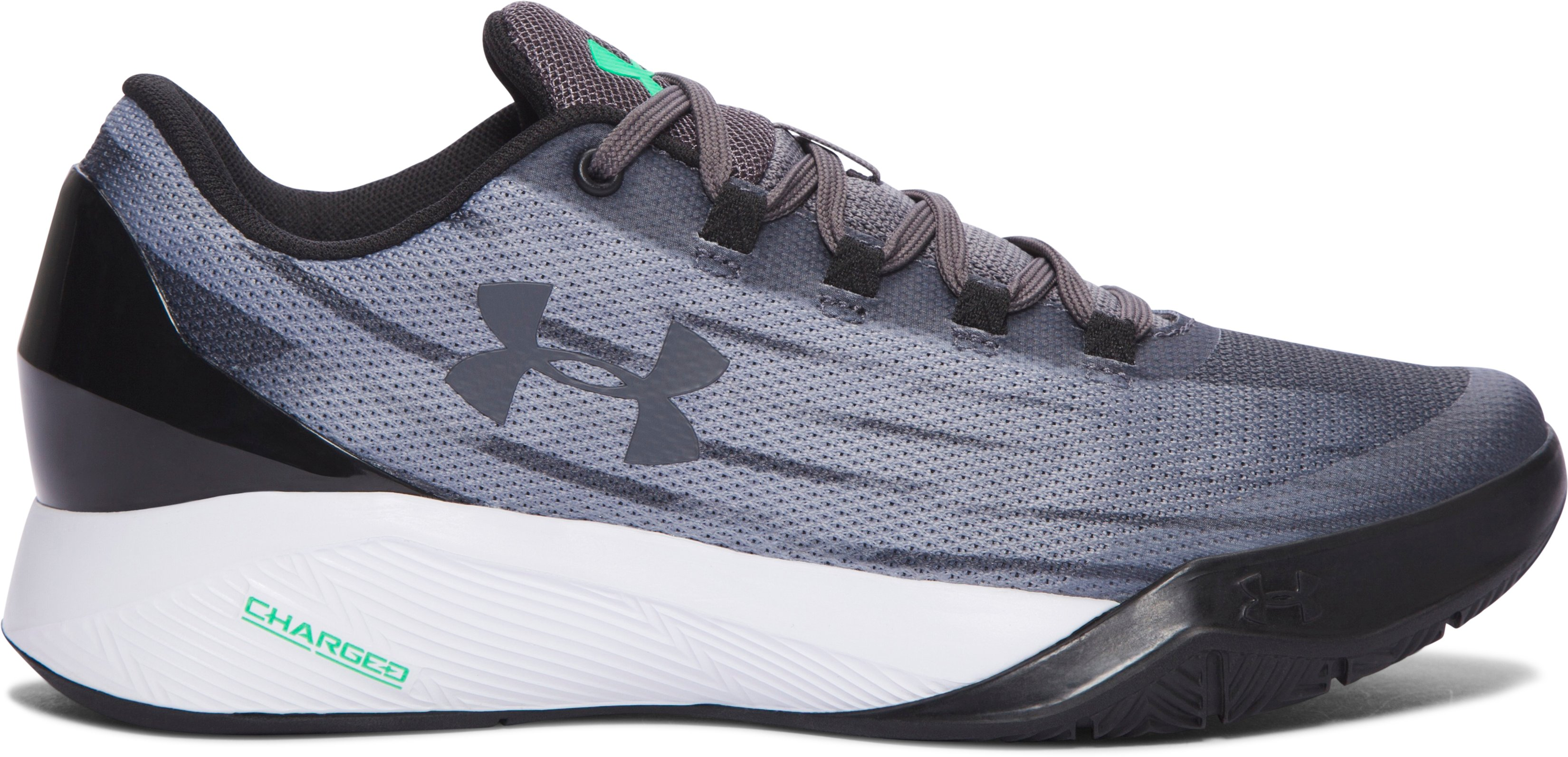 Boys' Grade School UA Charged Controller Basketball Shoes, RHINO GRAY