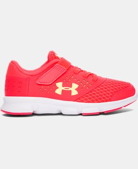 Girls' Pre-School UA Rave Adjustable Closure Running Shoes   $35.99