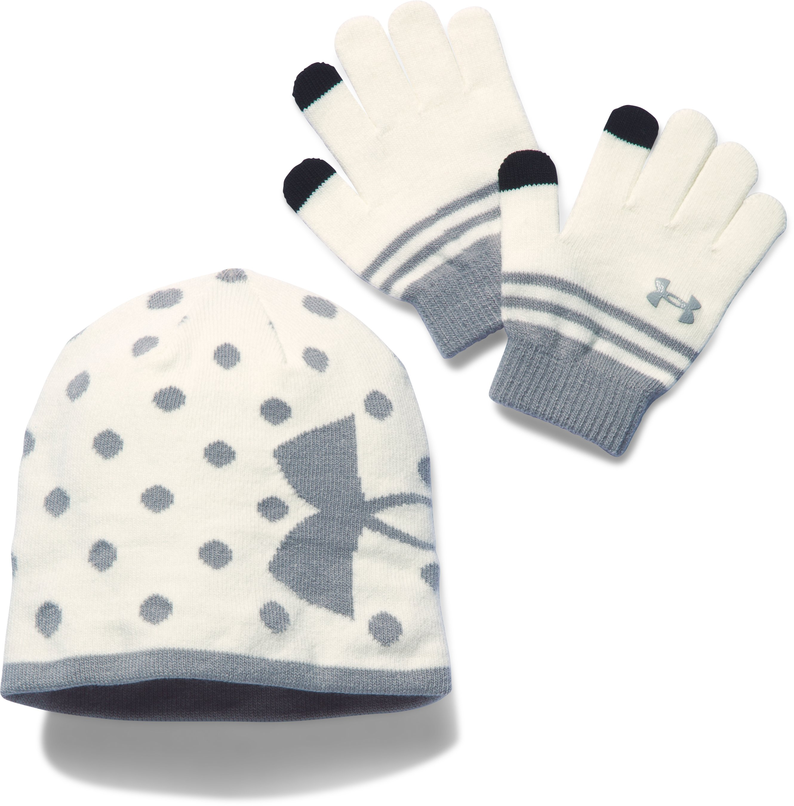 Girls' UA Beanie & Glove Combo Pack, Ivory,