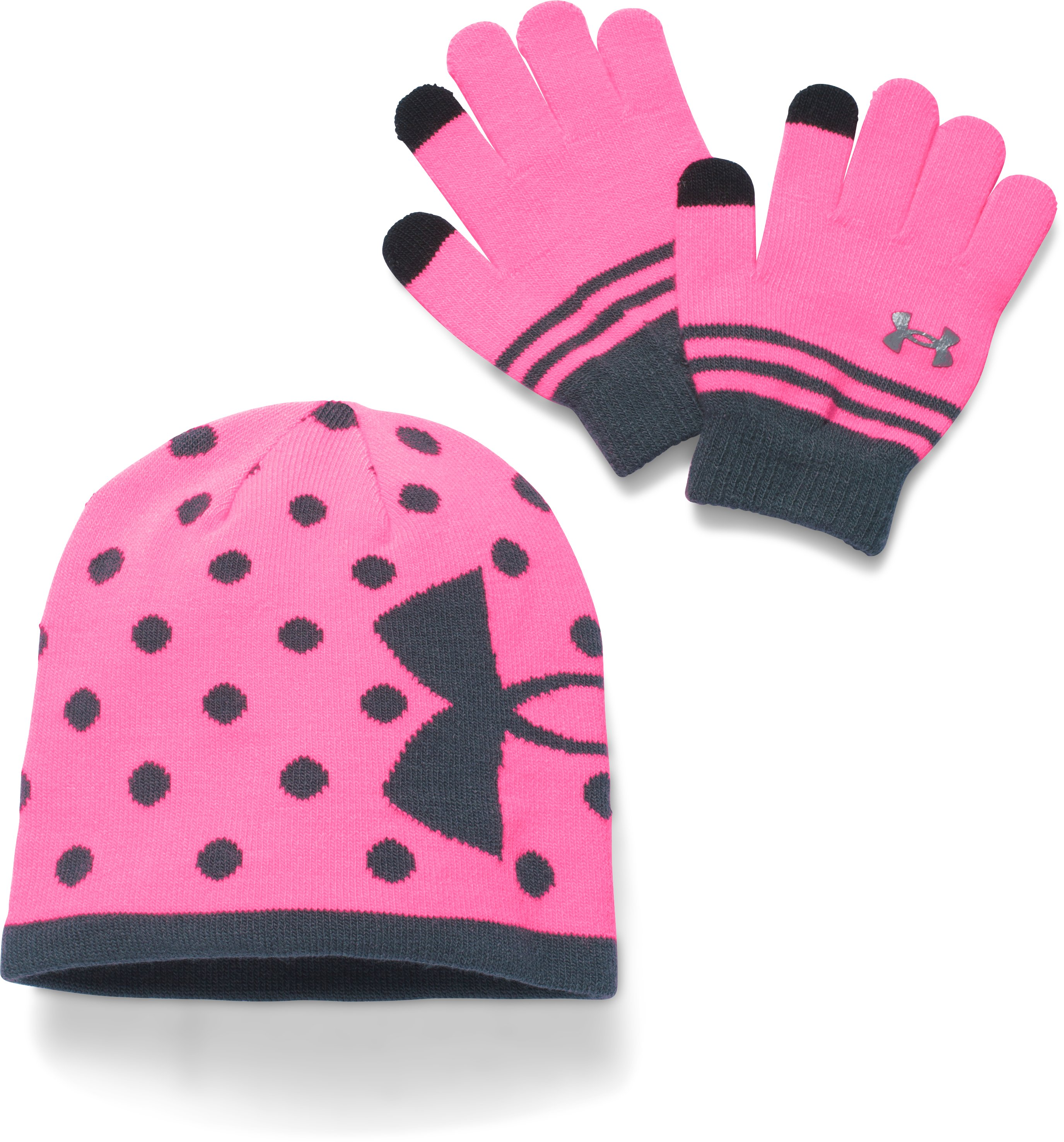 Girls' UA Beanie & Glove Combo Pack, PINK PUNK