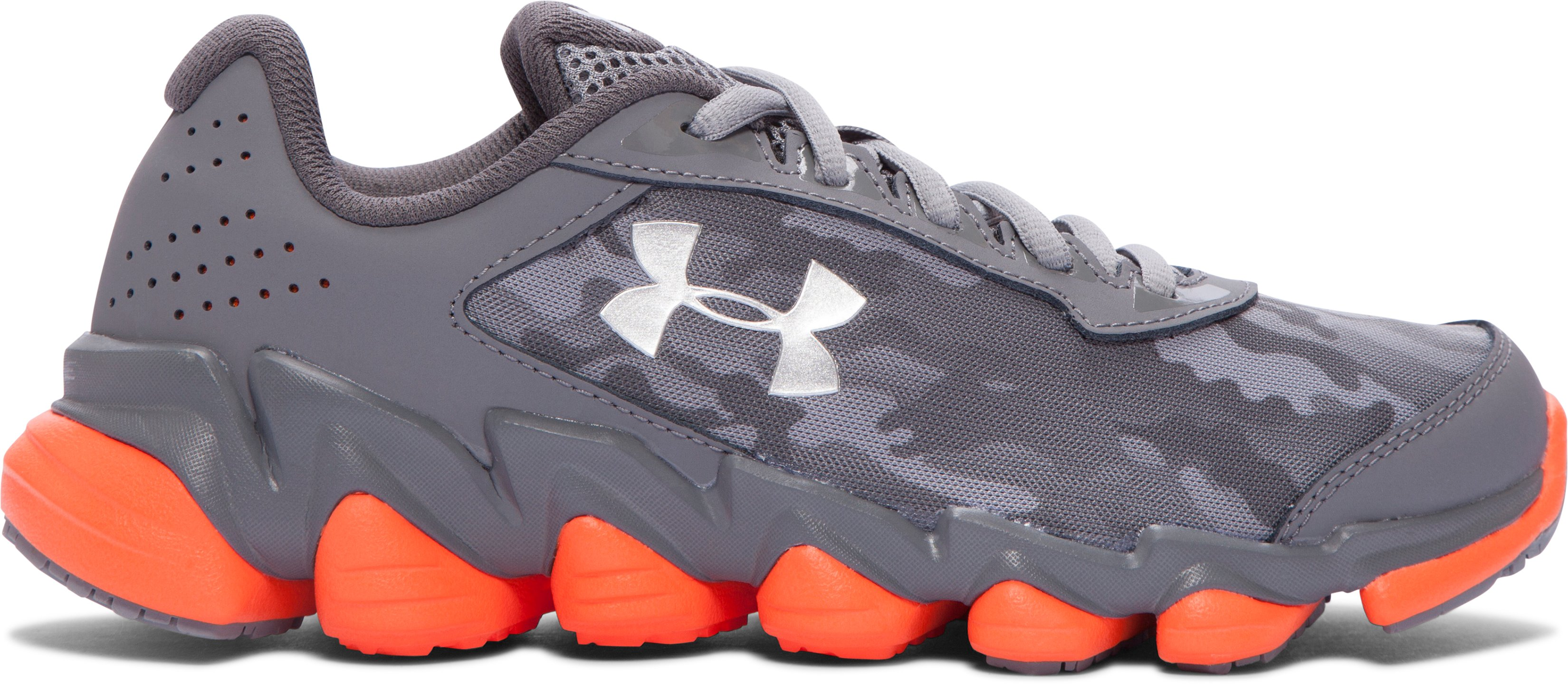 Boys' Grade School UA Spine™ Disrupt Camo Running Shoes, Graphite