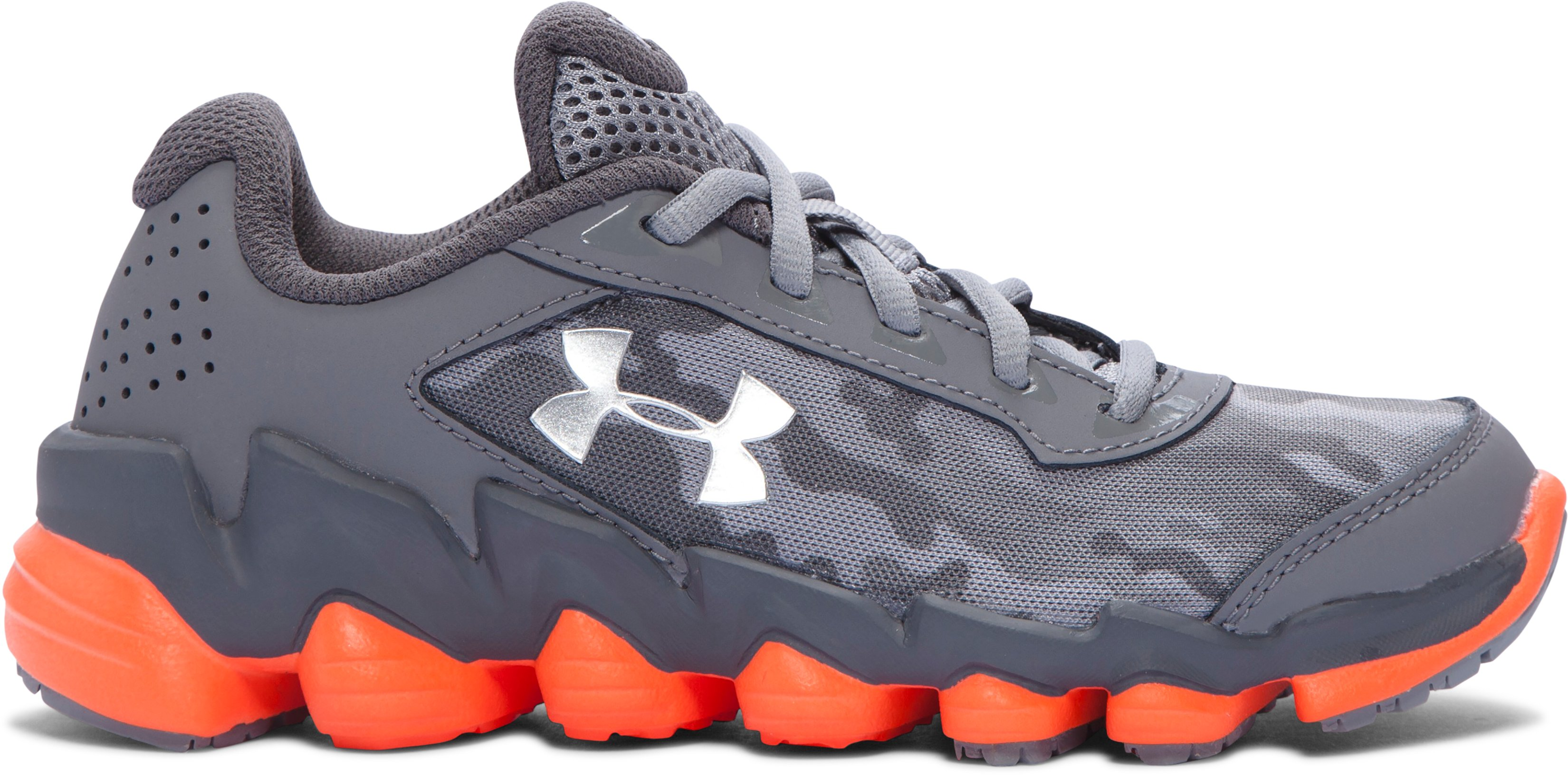Boys' Pre-School UA Spine™ Disrupt Camo Running Shoes, Graphite, undefined
