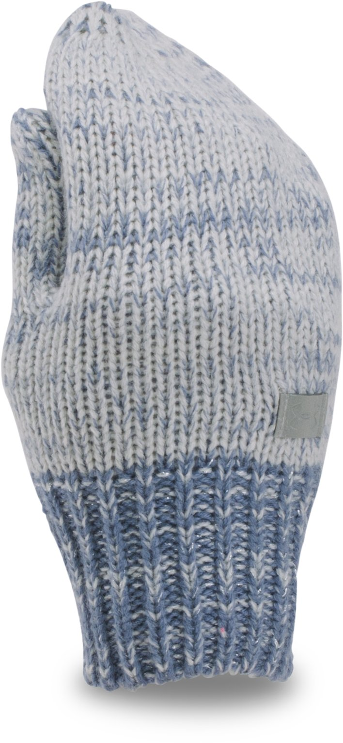 Girls' UA Shimmer Knit Mittens, GLACIER GRAY, zoomed image