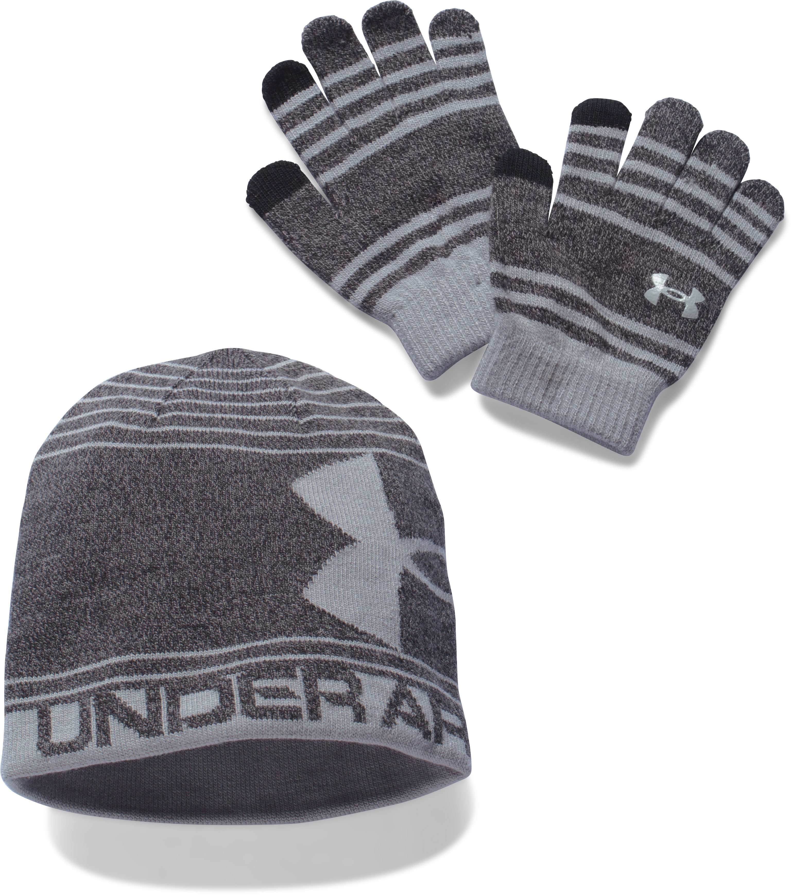Boys' UA Beanie & Glove Combo Pack, Black , undefined