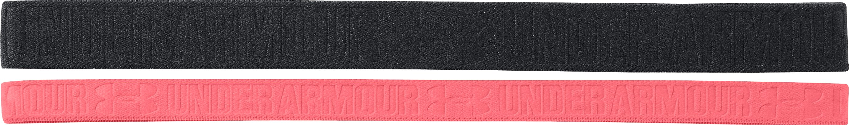 Women's UA Embossed Headbands – 2 Pack, Black ,