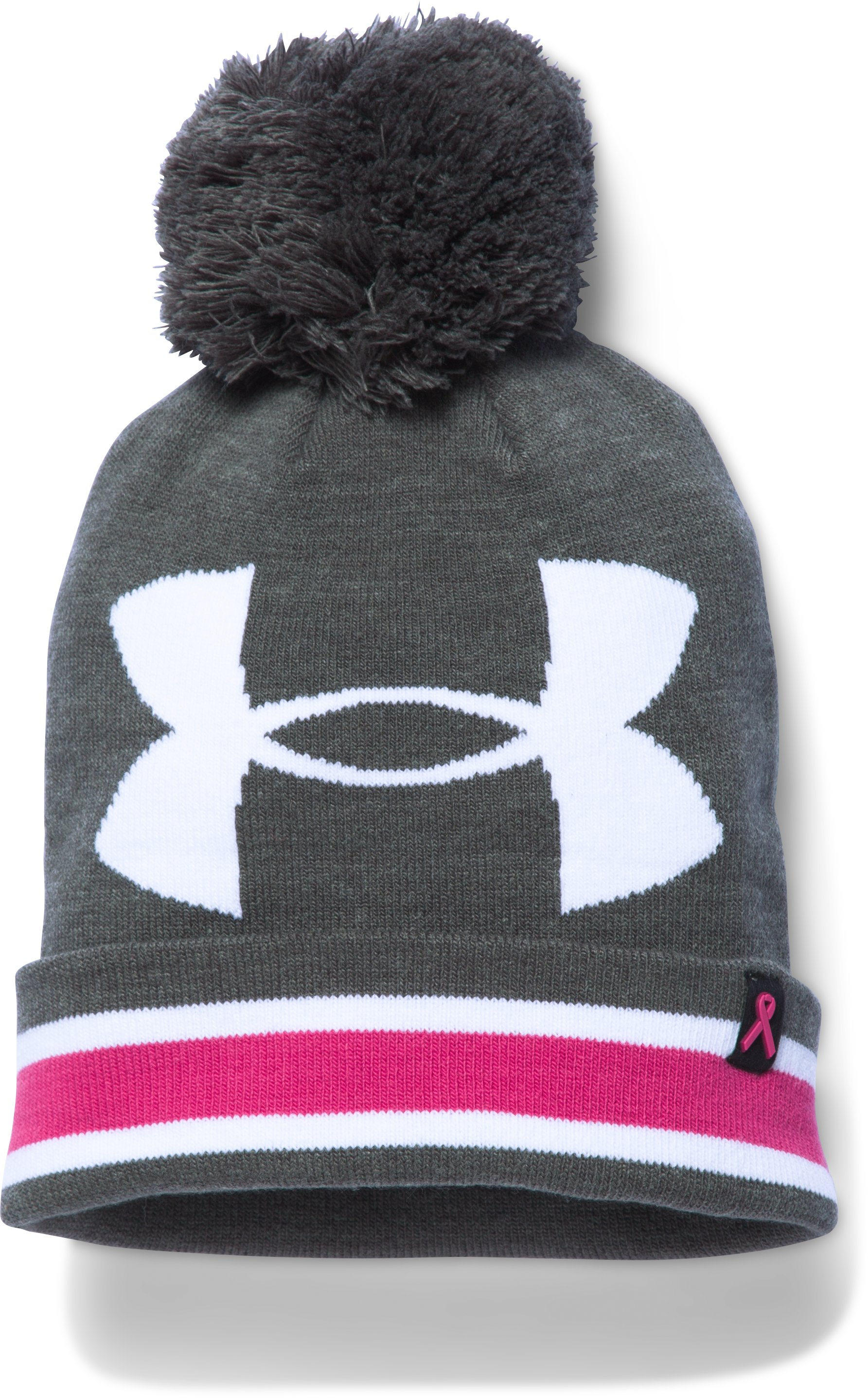 Women's UA Power In Pink® Pom Beanie, Carbon Heather, undefined