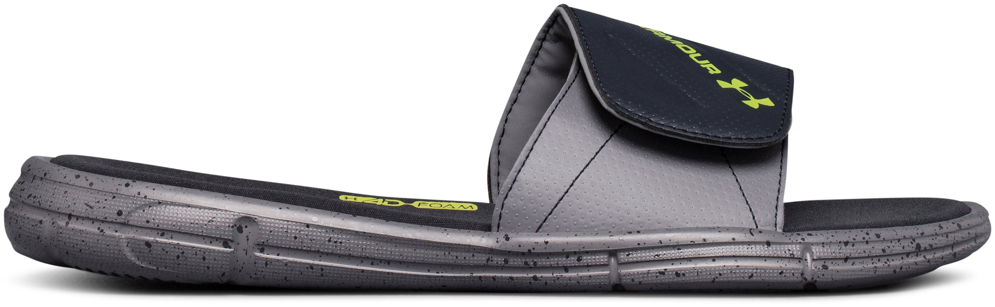 Men's UA Ignite Water Friendly Slides, ZINC GRAY