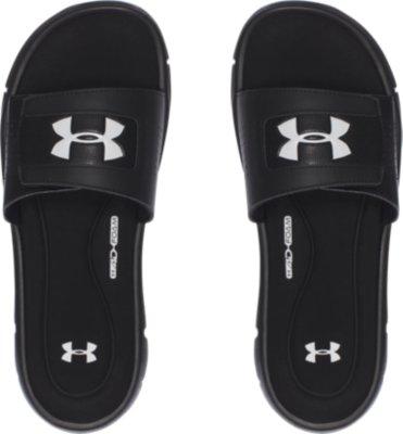 NEW Under Armour Men/'s Ignite V Comfort Slides Black//White #1287318-001 z