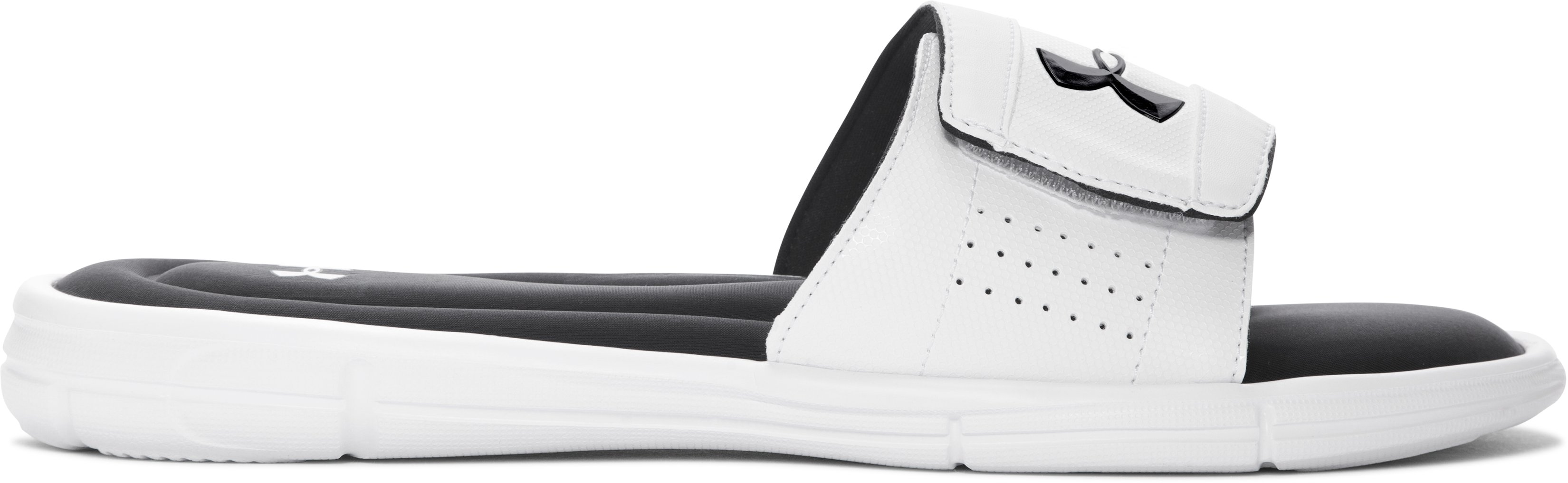 Men's UA Ignite V Slides, White, zoomed image