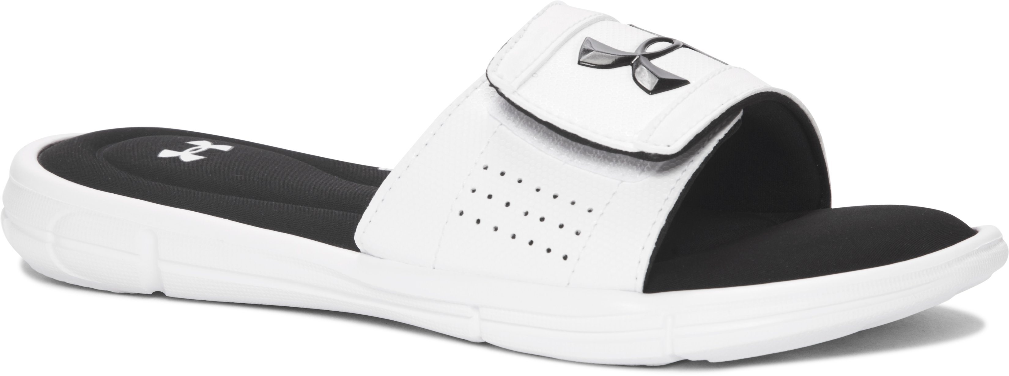 Boys' UA Ignite V Slides, White