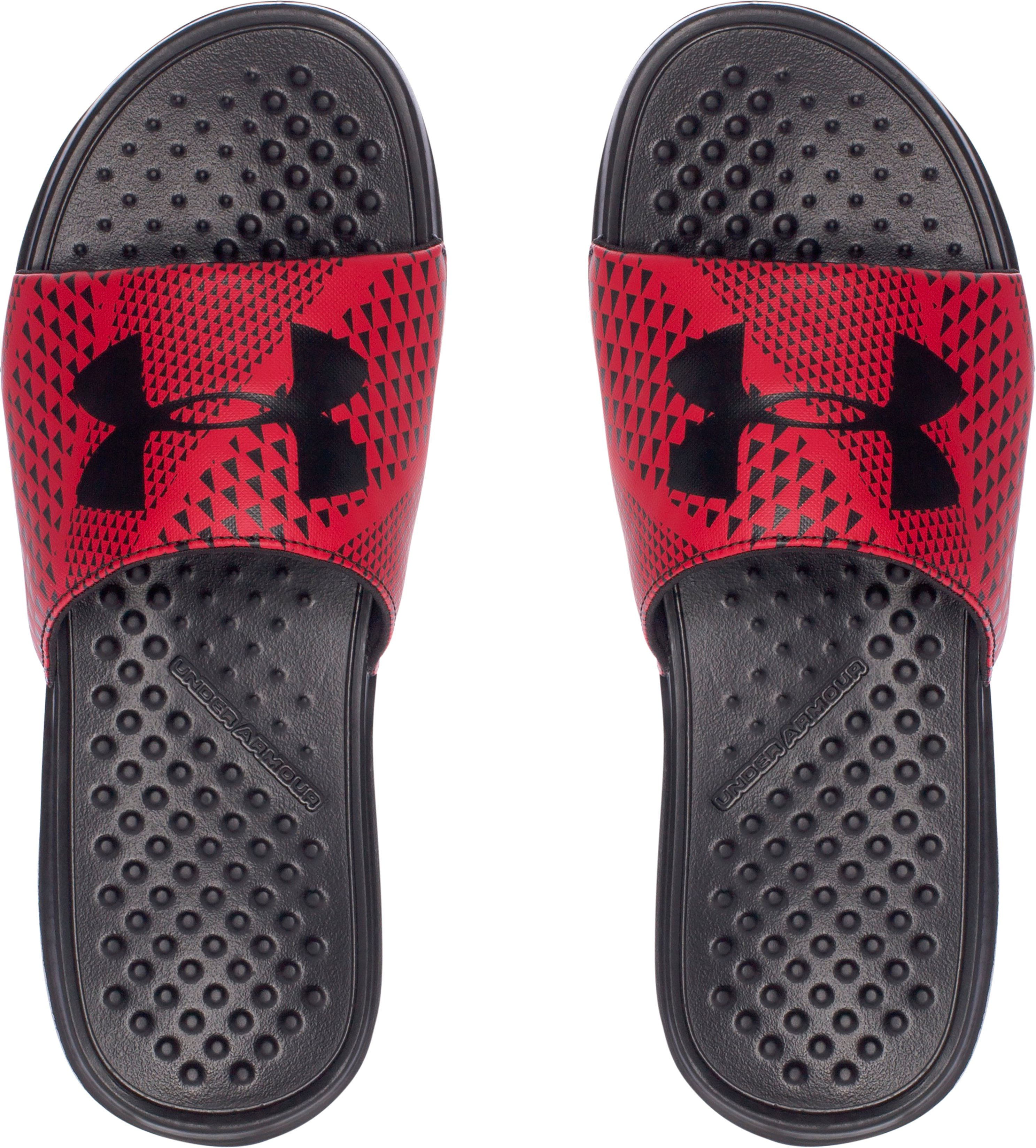 Men's UA Strike Micro Geo Slides, Black ,