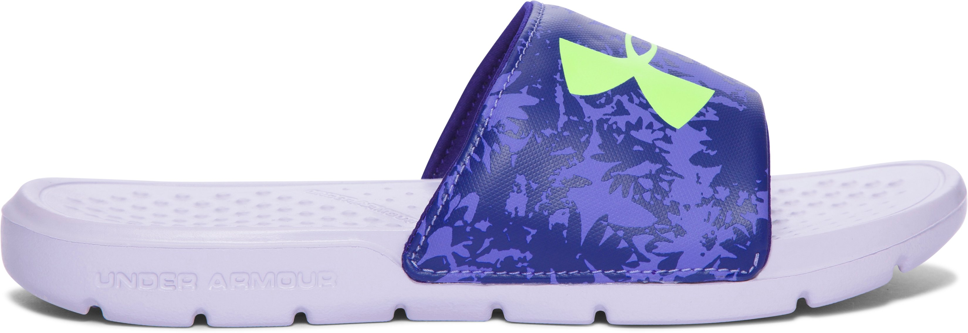 Girls' UA Strike Floral Slides, SUMMER LIME