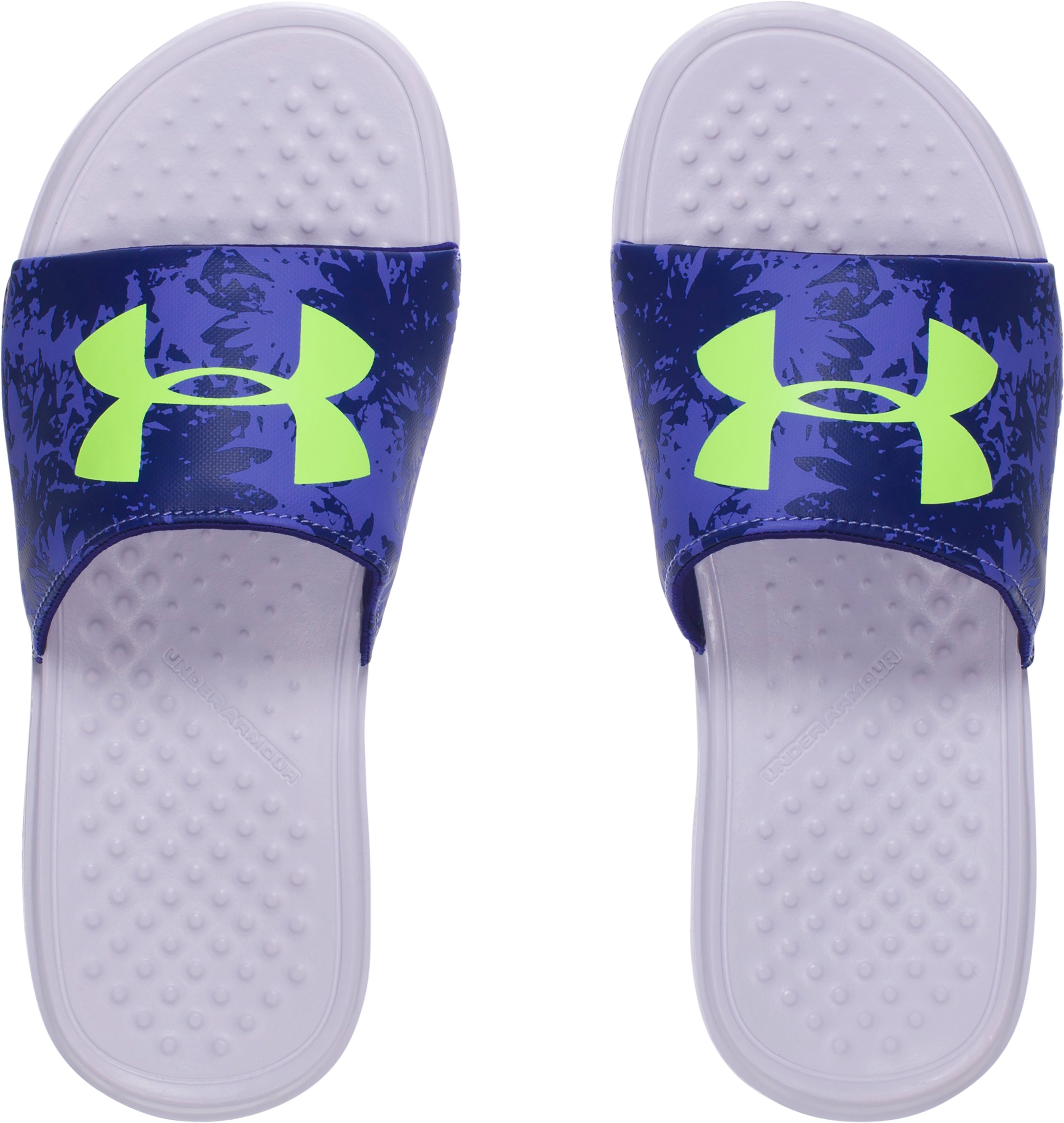 Girls' UA Strike Floral Slides, SUMMER LIME, undefined