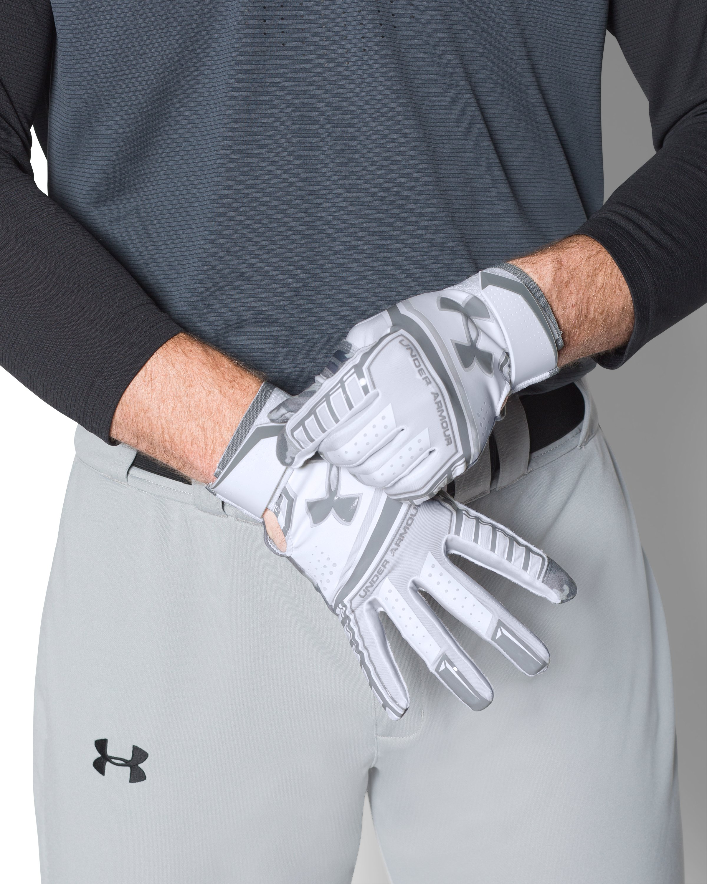 Men's UA Heater Batting Gloves, White,