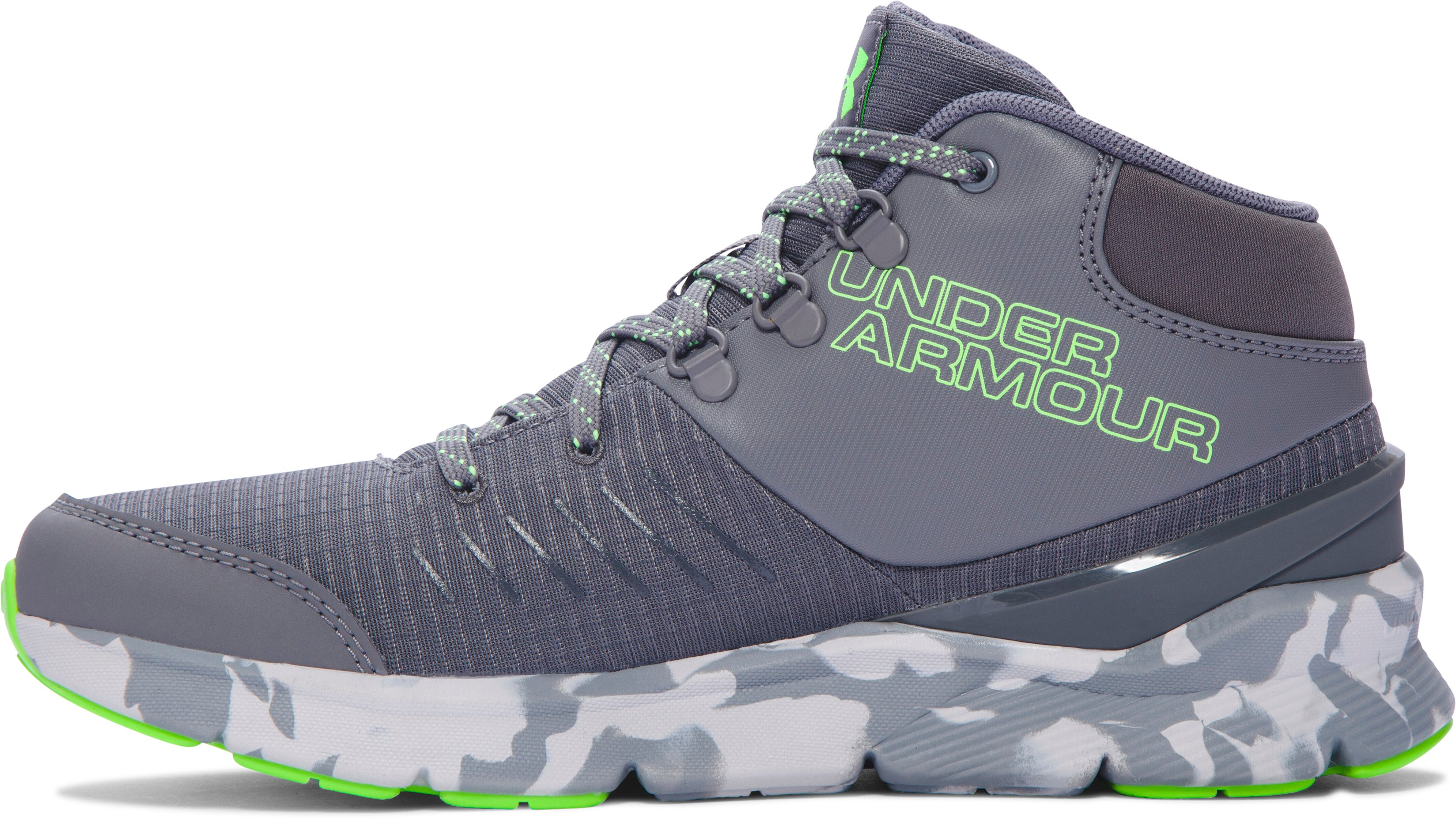 Boys' Grade School UA Overdrive Mid Marble Running Shoes, Graphite