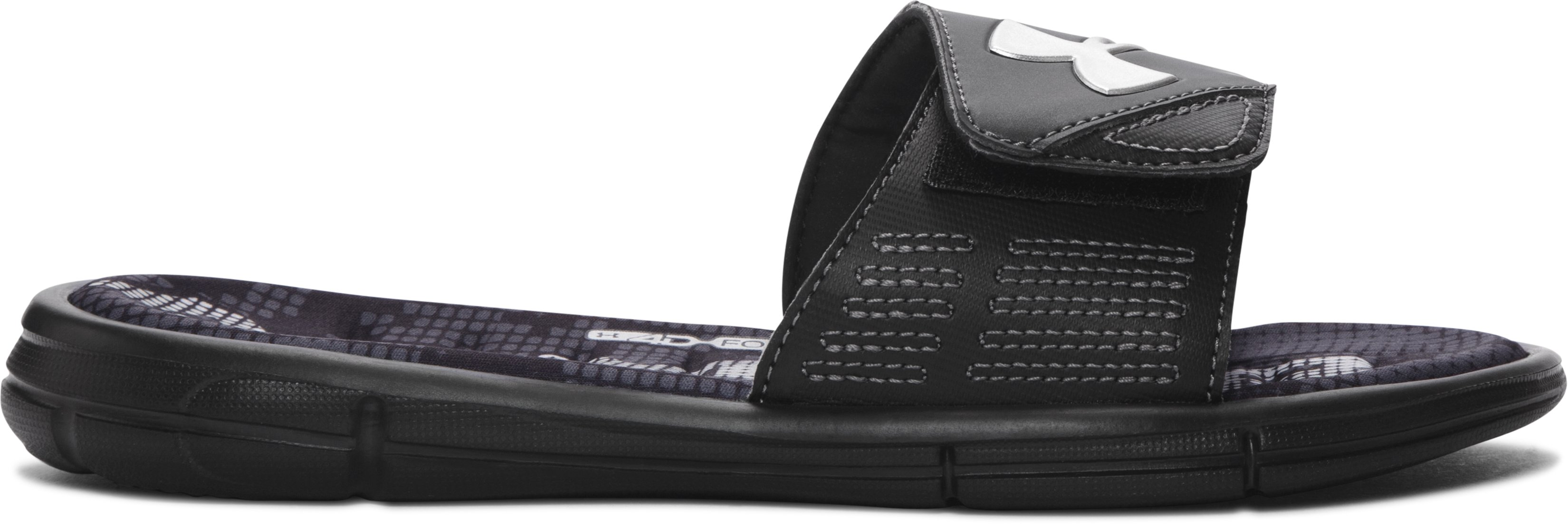 Boys' UA Mercenary VIII Slides, Black , zoomed image