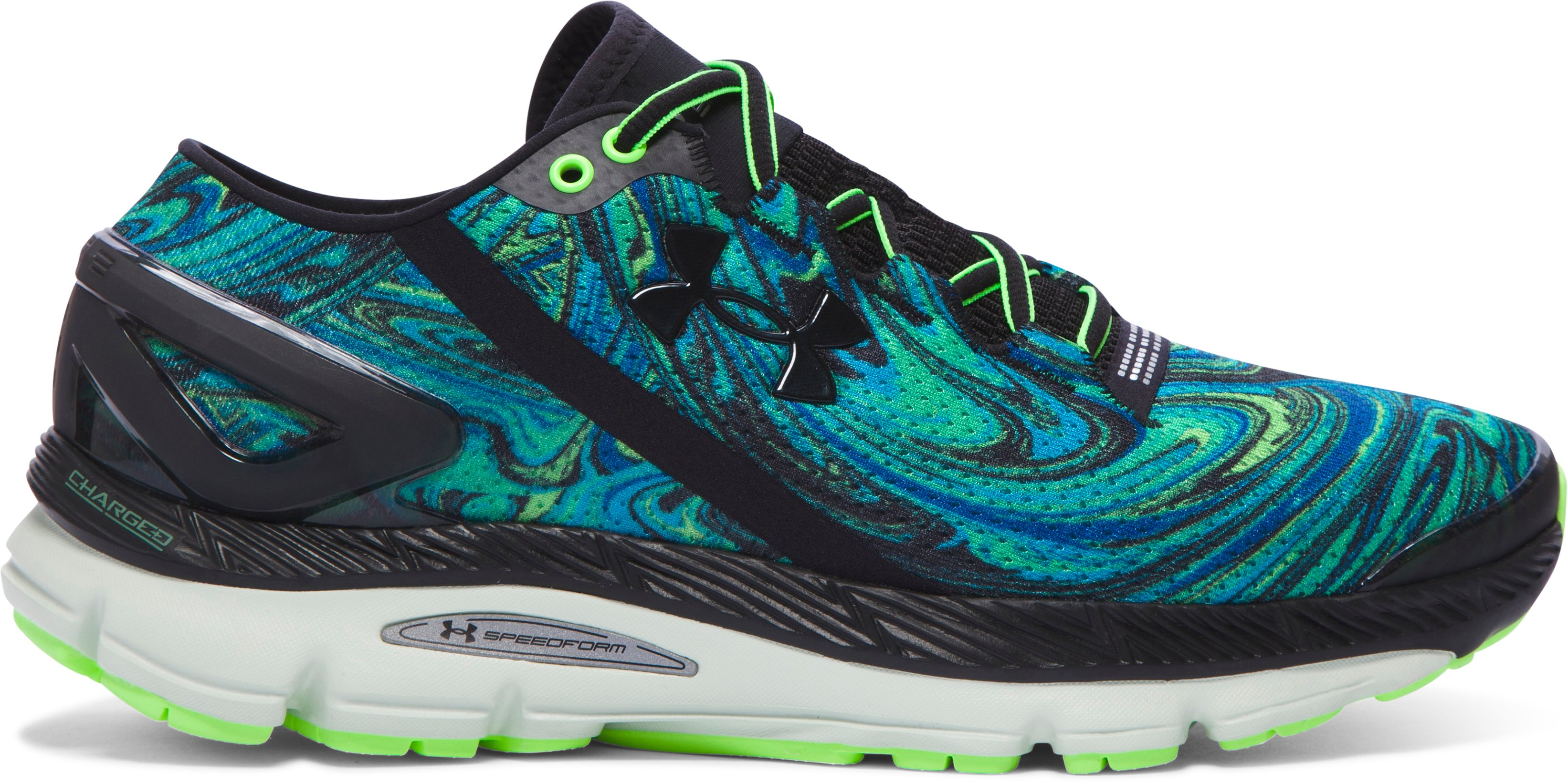 Men's UA SpeedForm® Gemini 2 Psychedelic Running Shoes, MERIDIAN BLUE, zoomed image