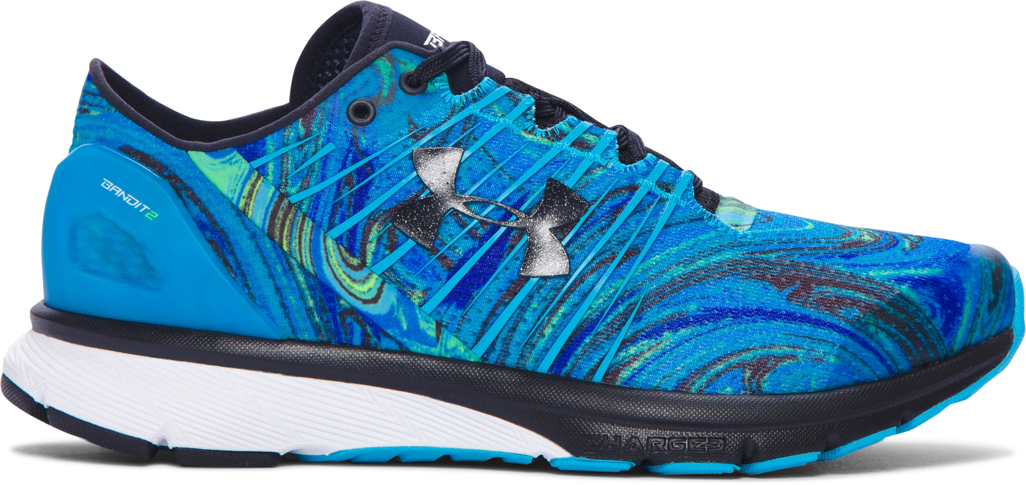 Women's UA Charged Bandit 2 Psychedelic Running Shoes, MERIDIAN BLUE,