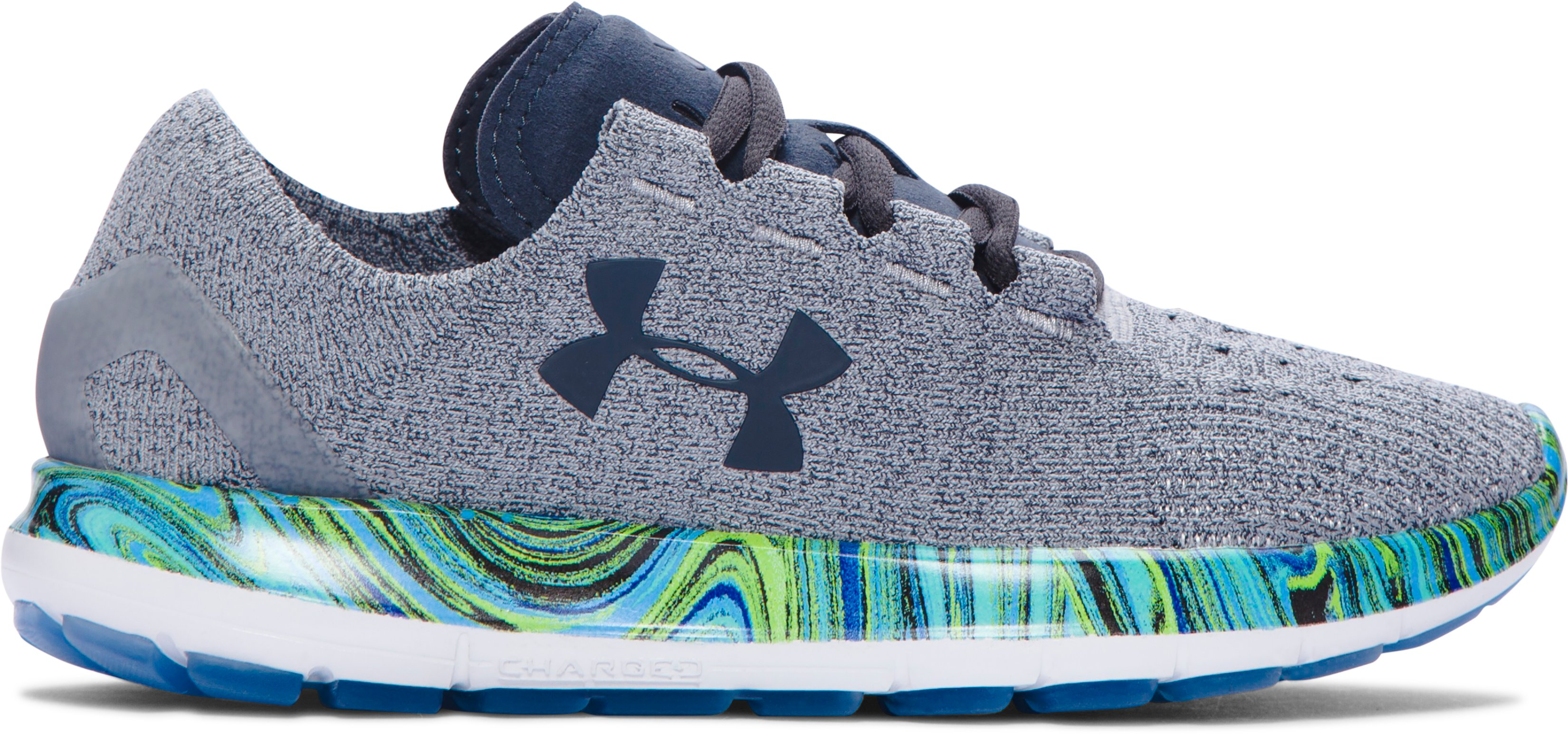 Women's UA SpeedForm® Slingride Psychedelic Running Shoes, OVERCAST GRAY, zoomed image