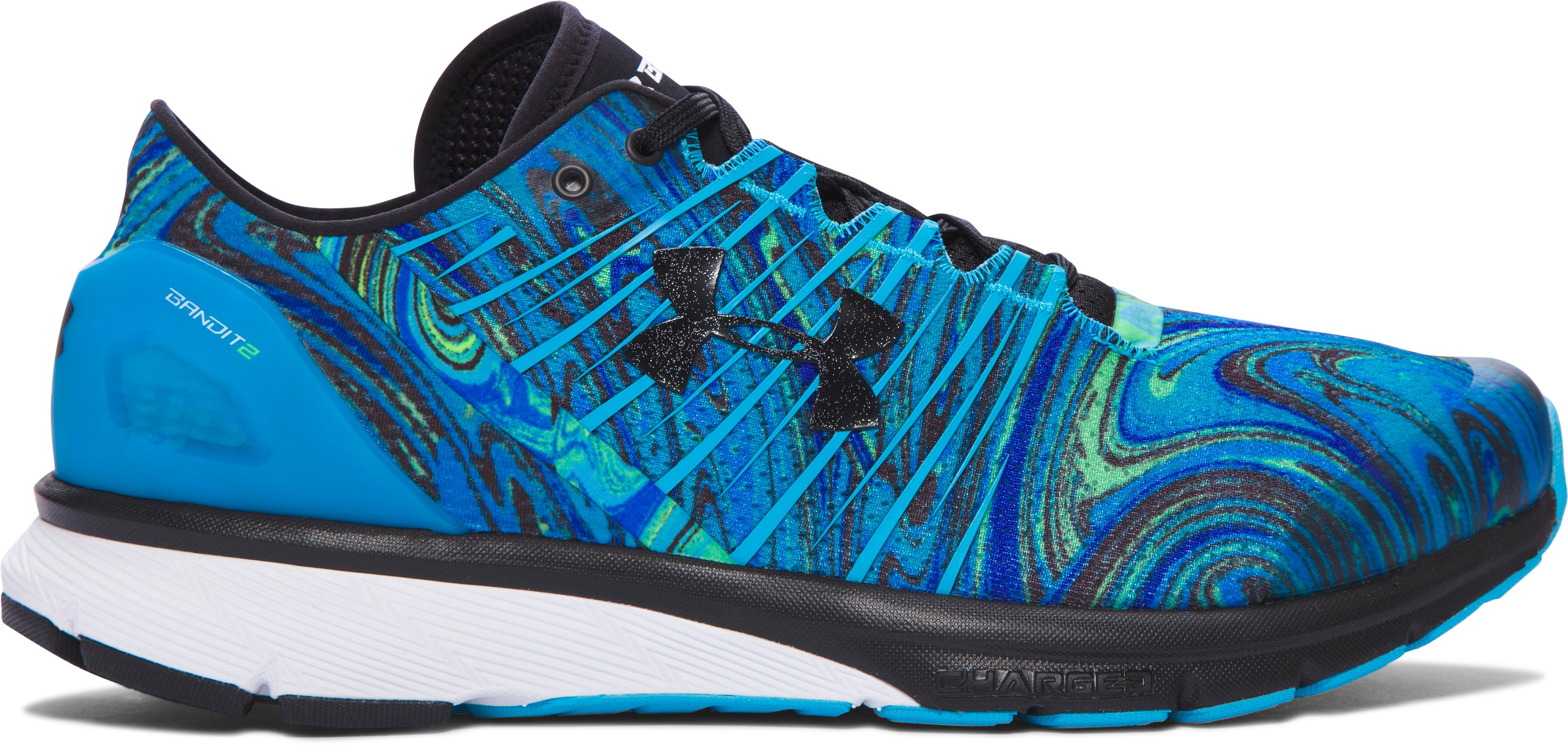 Men's UA Charged Bandit 2 Psychedelic Running Shoes, MERIDIAN BLUE