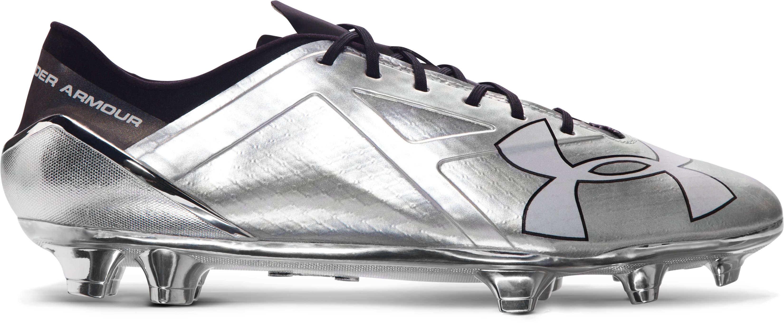 Men's UA Spotlight FG Soccer Cleats – Metallic Edition, Metallic Silver, zoomed image