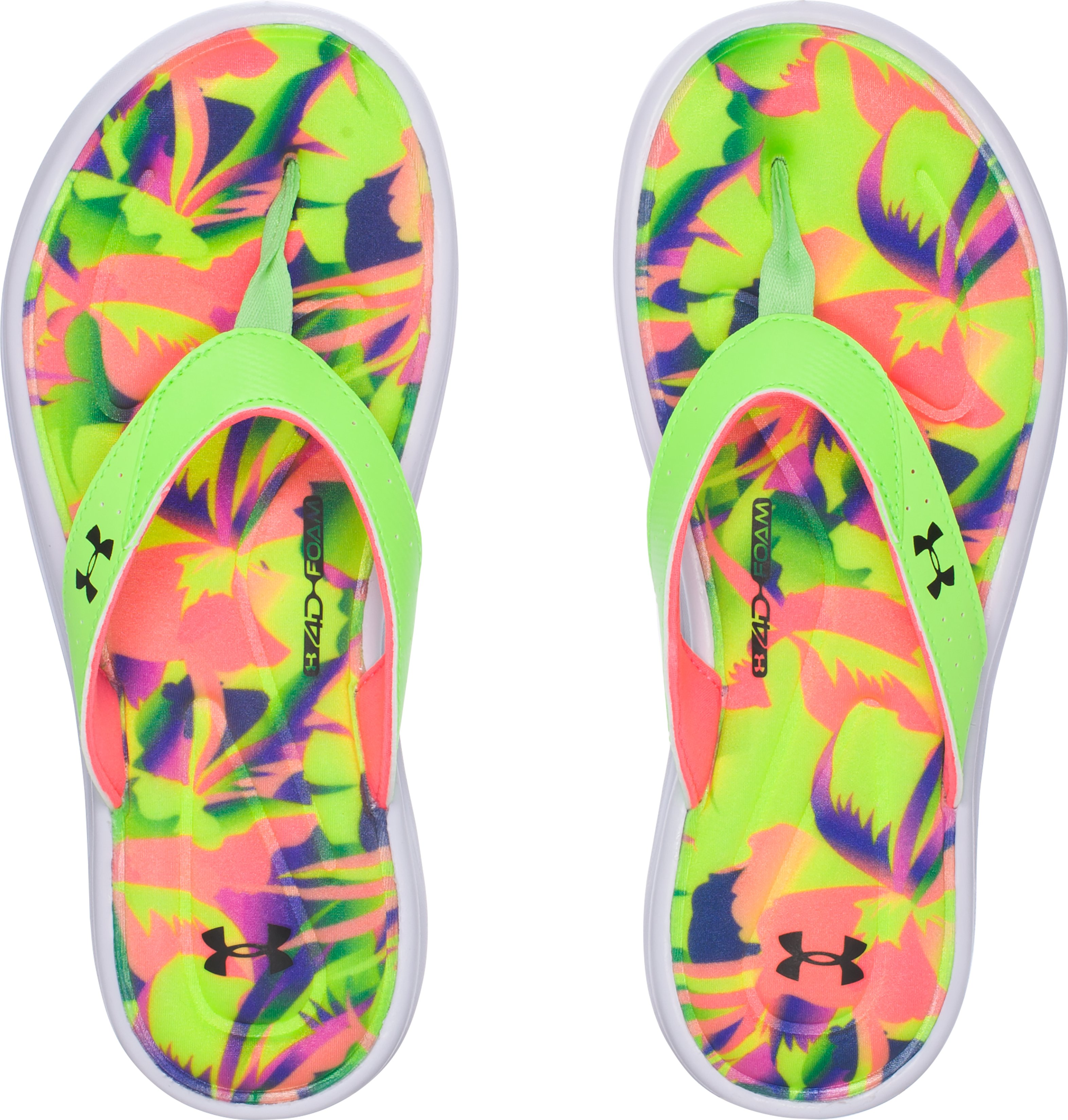 Women's UA Marbella V Floral Sandals, LIME LIGHT