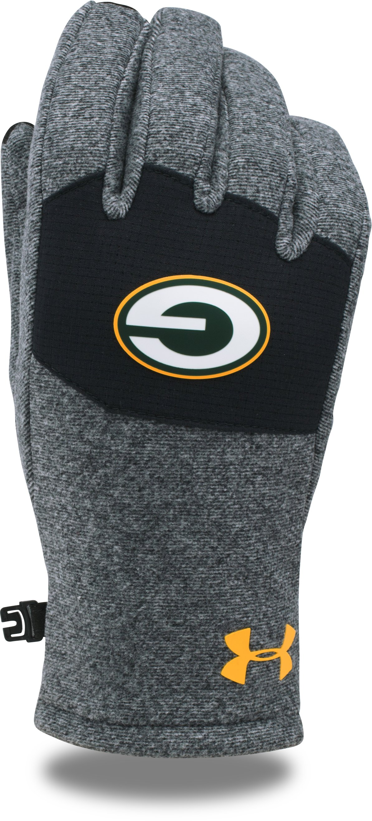 Men's NFL Combine Authentic UA ColdGear® Infrared Fleece Gloves, Green Bay Packers, zoomed image