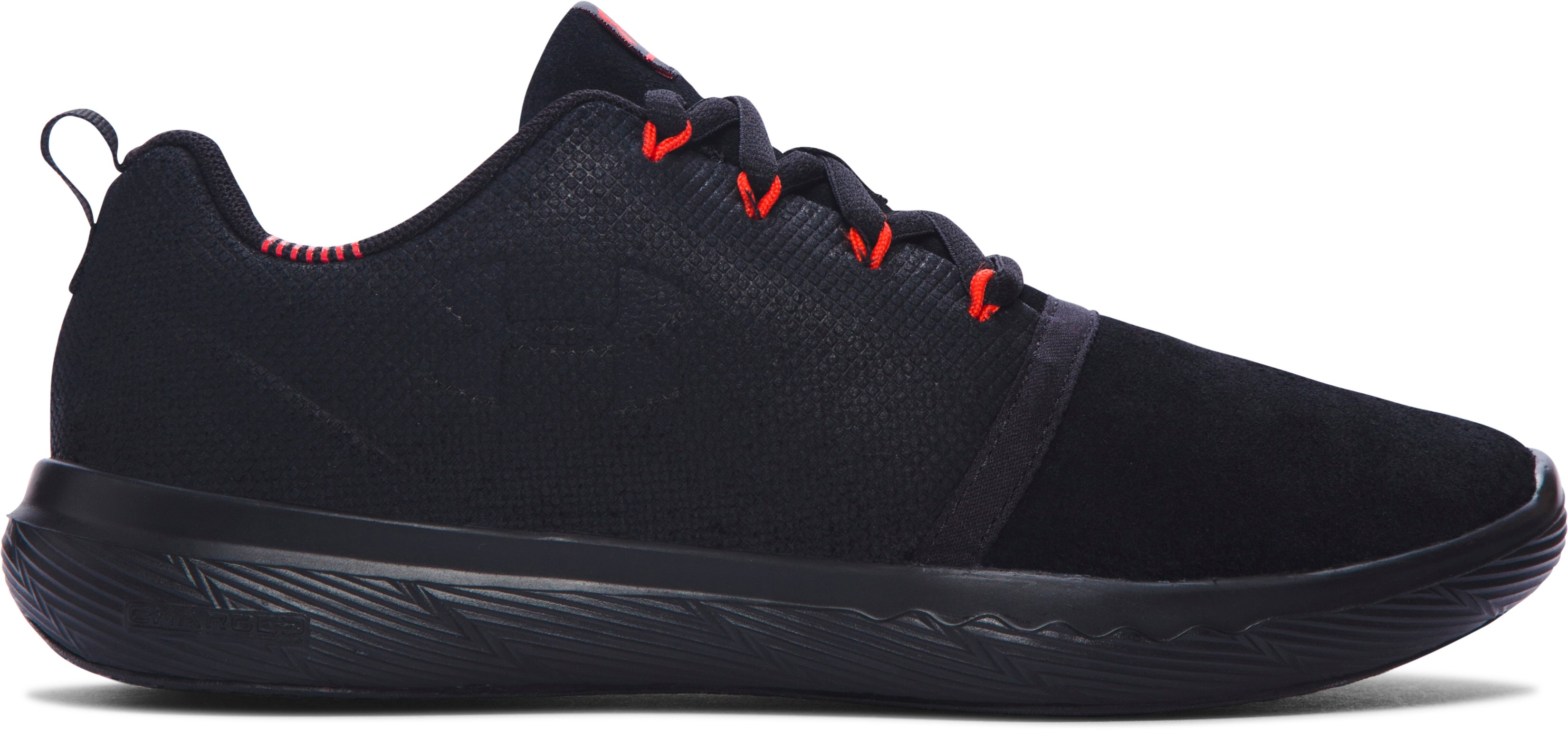 Boys' Grade School UA Charged 24/7 Low Suede  Shoes, Black , zoomed image