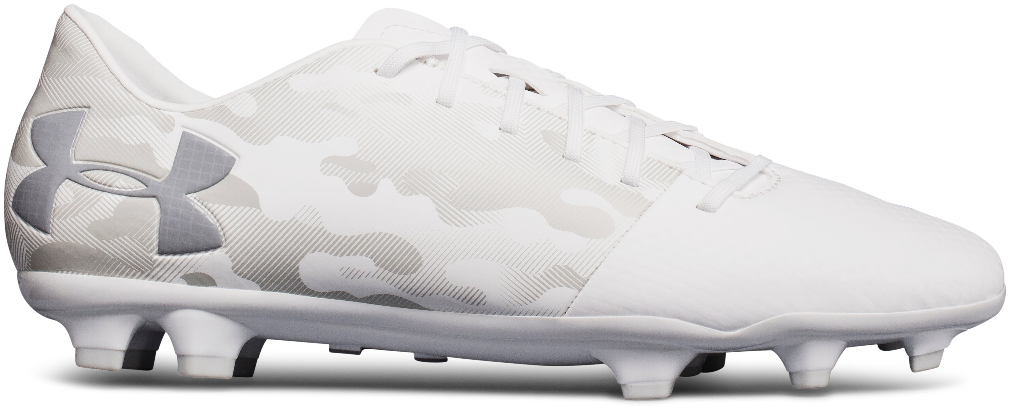 Men's UA Spotlight DL Firm Ground Soccer Cleats, White, undefined