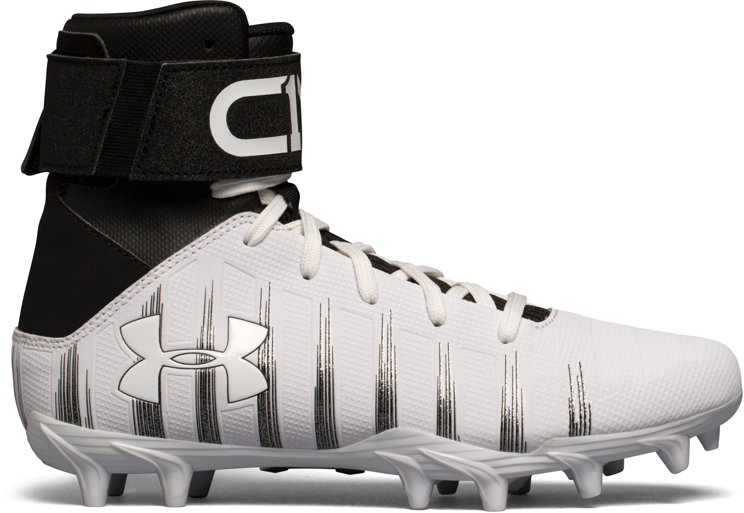 Boys' UA C1N Jr. Molded Football Cleats, White, zoomed image