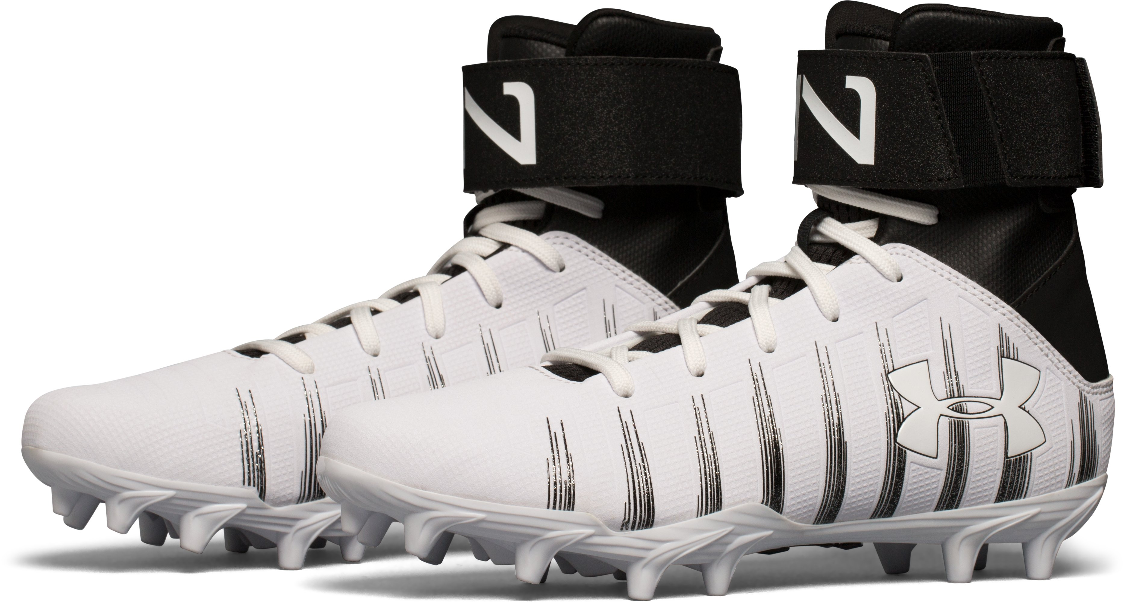 Boys' UA C1N Jr. Molded Football Cleats, White,