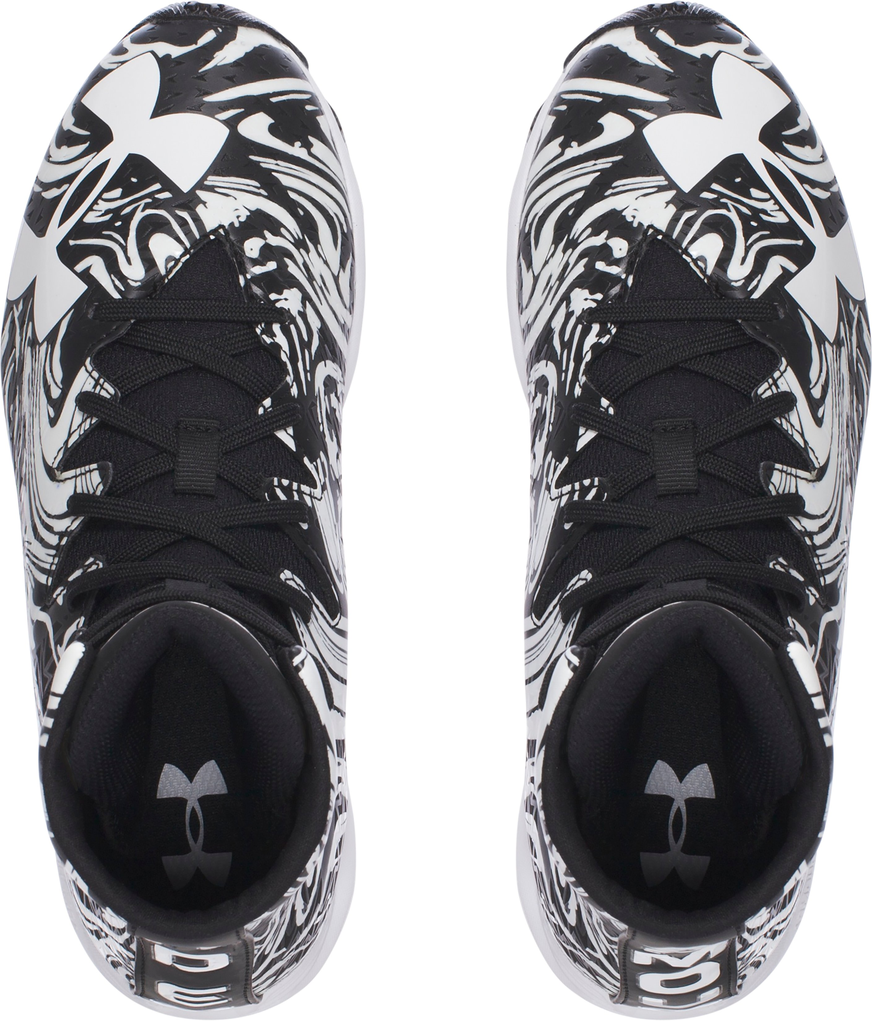 Boys' UA Highlight Lux Jr. Rubber Molded Football Cleats, Black ,