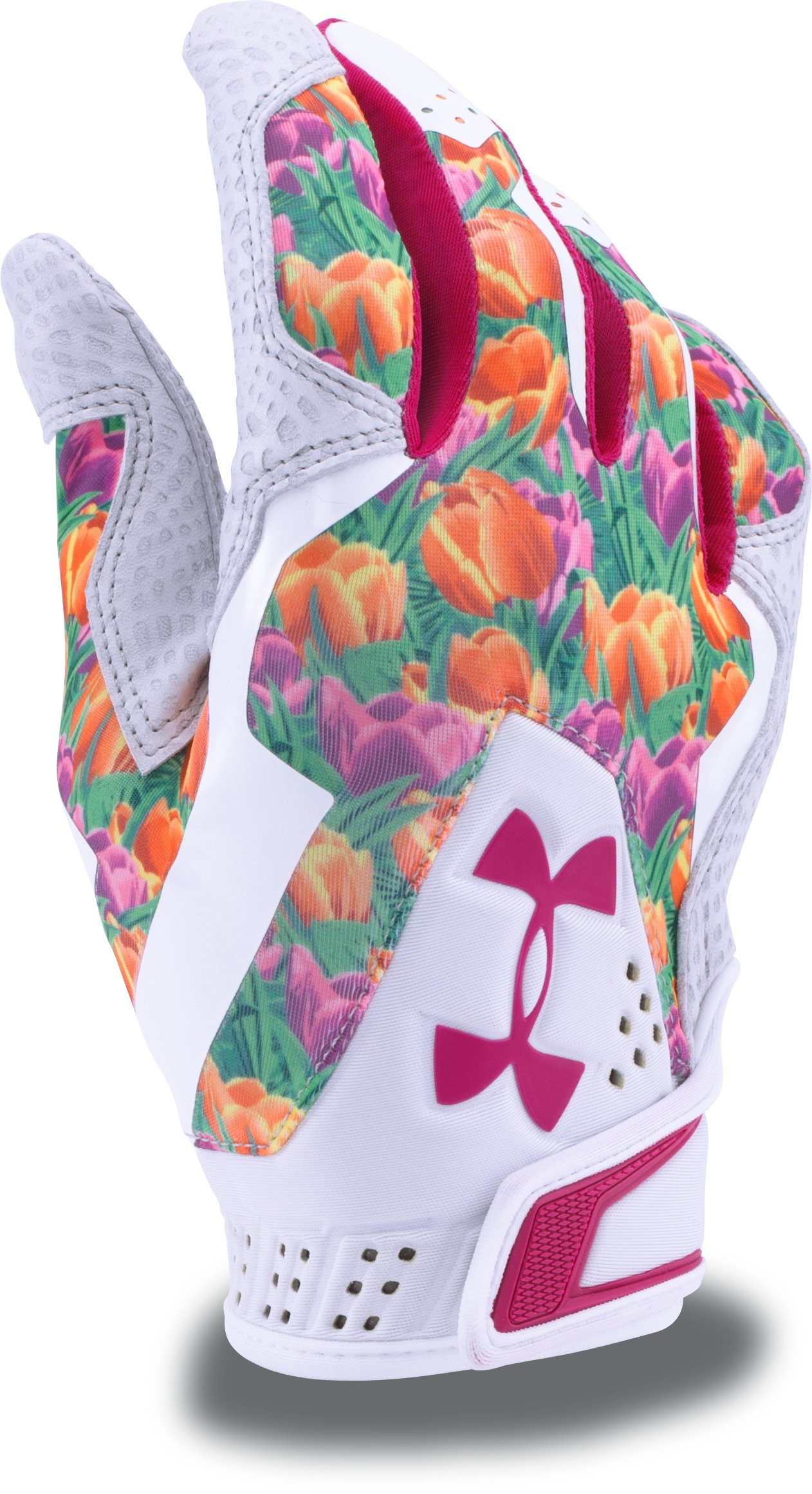 Men's UA Yard Undeniable Batting Gloves — Mother's Day Edition, White