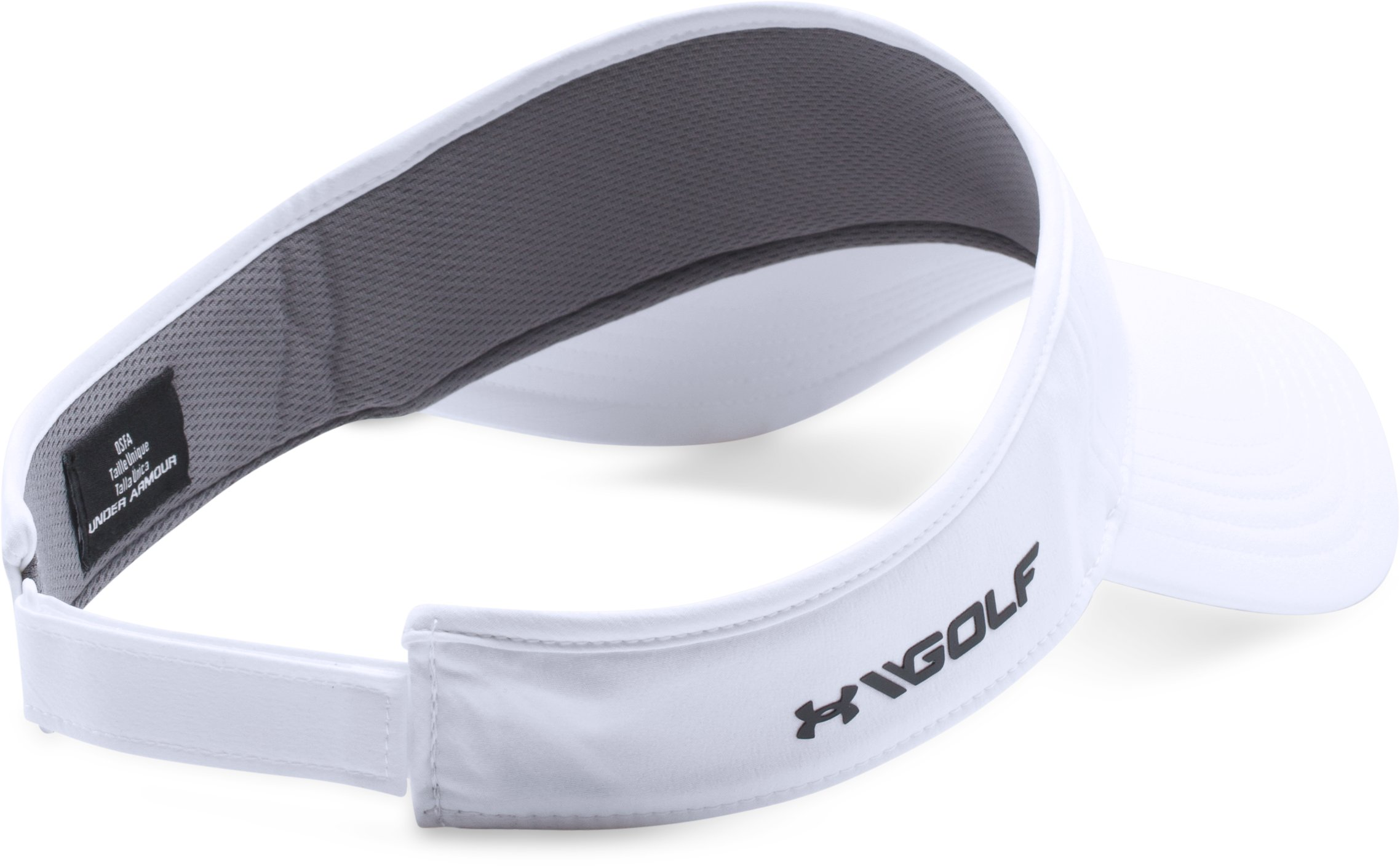 Men's UA Headline Golf Visor, White,