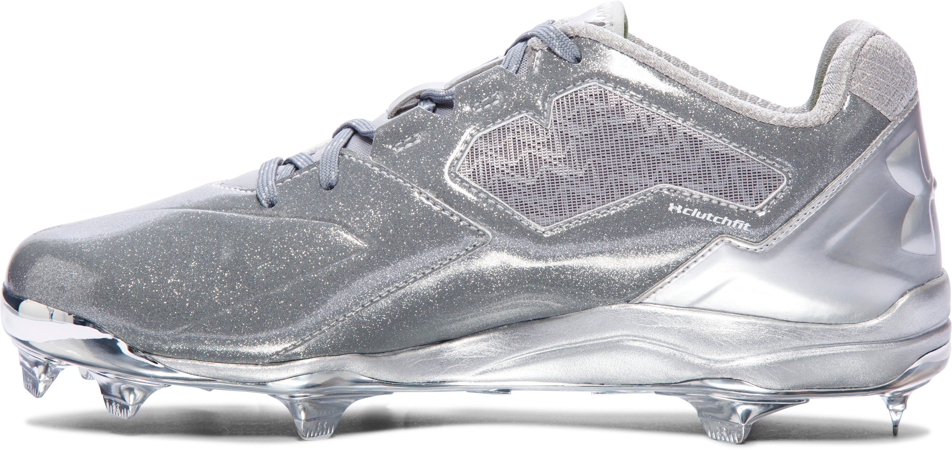 Men's UA Deception Low DT Baseball Cleats — Freedom Edition, Metallic Silver