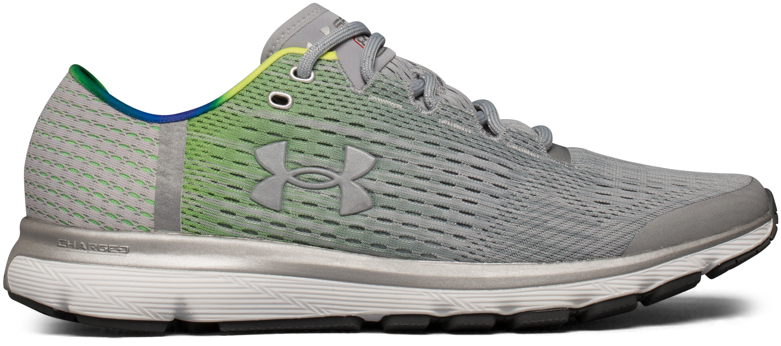 Men's UA SpeedForm® Velociti Graphic Record-Equipped Running Shoes, OVERCAST GRAY