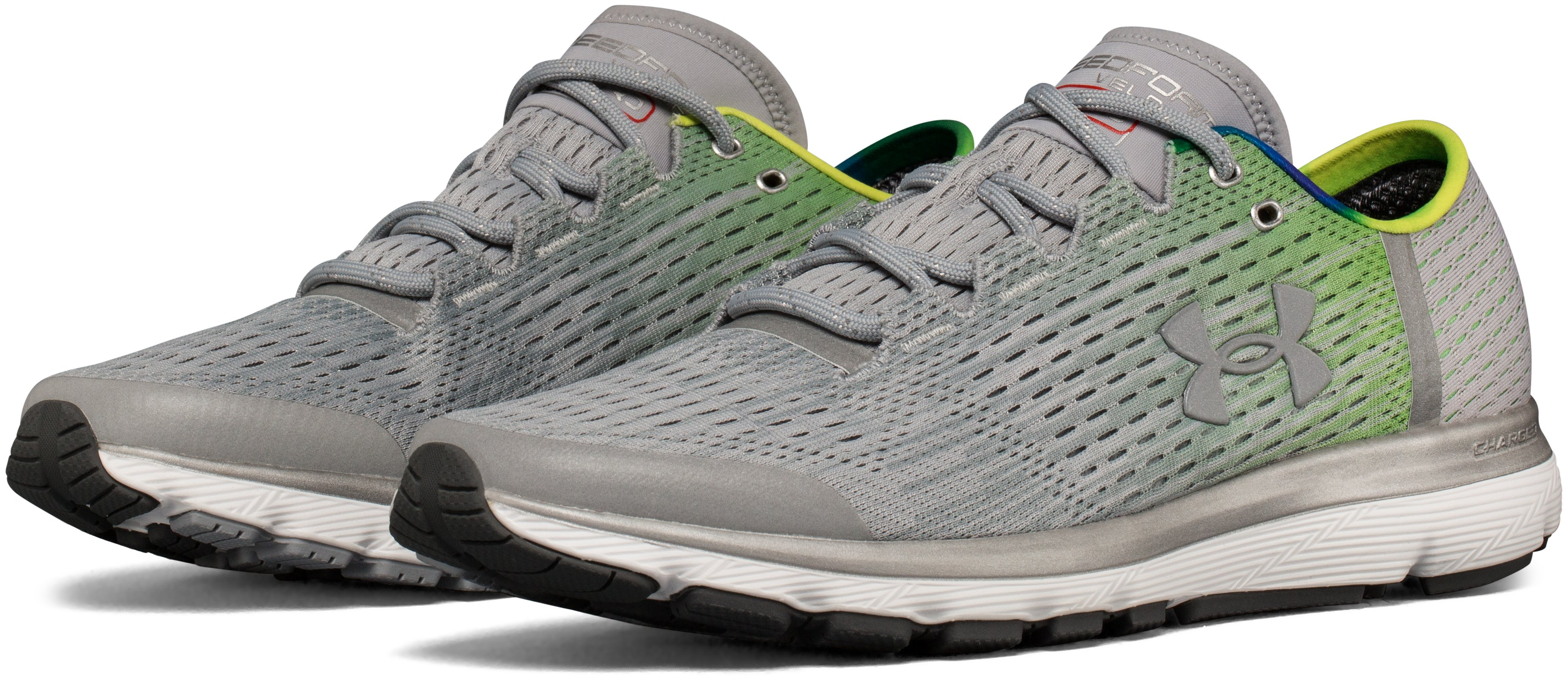 Men's UA SpeedForm® Velociti Graphic Record-Equipped Running Shoes, OVERCAST GRAY, undefined
