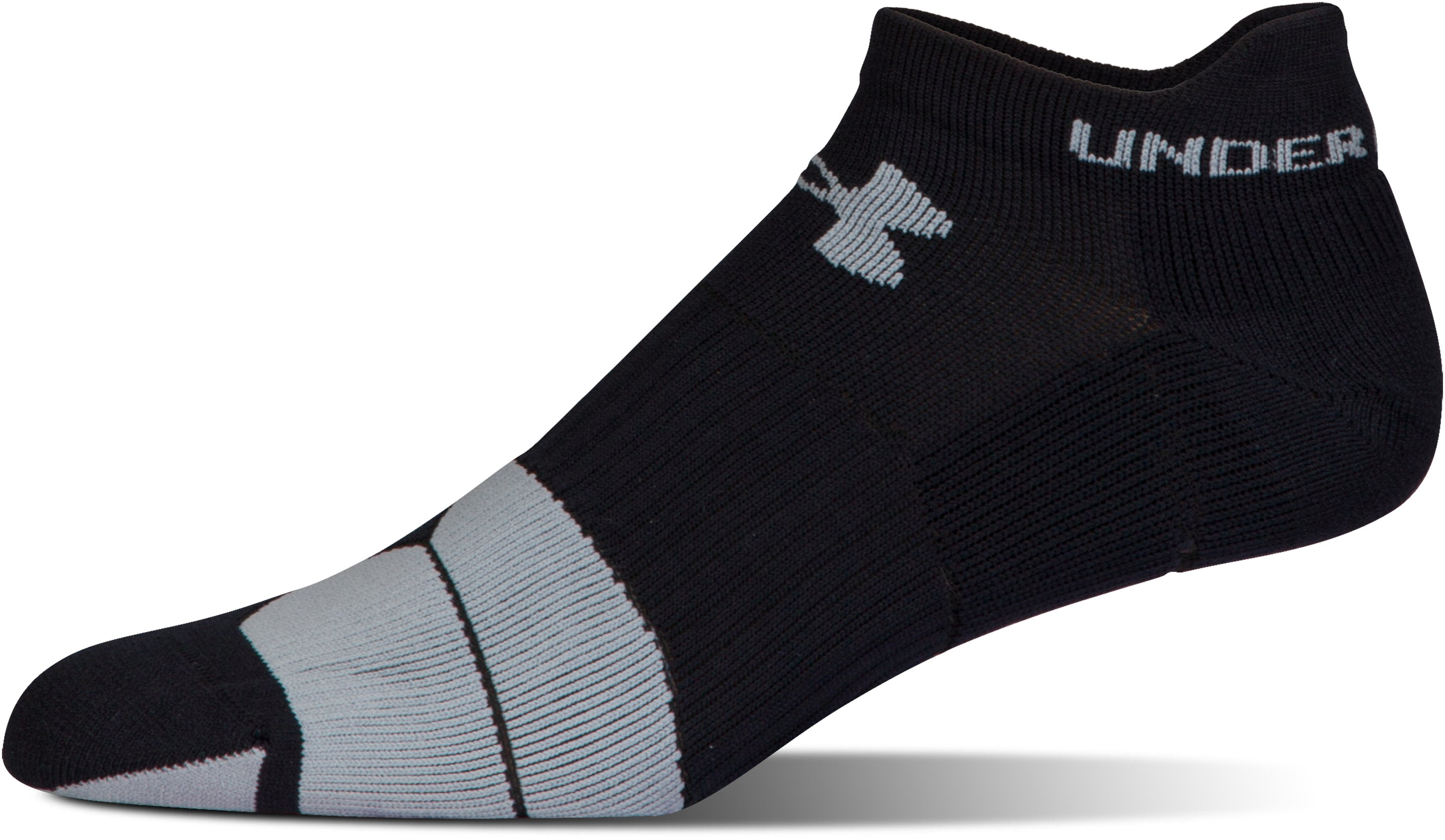 Men's UA Run Cushion Tab No Show Socks, Black