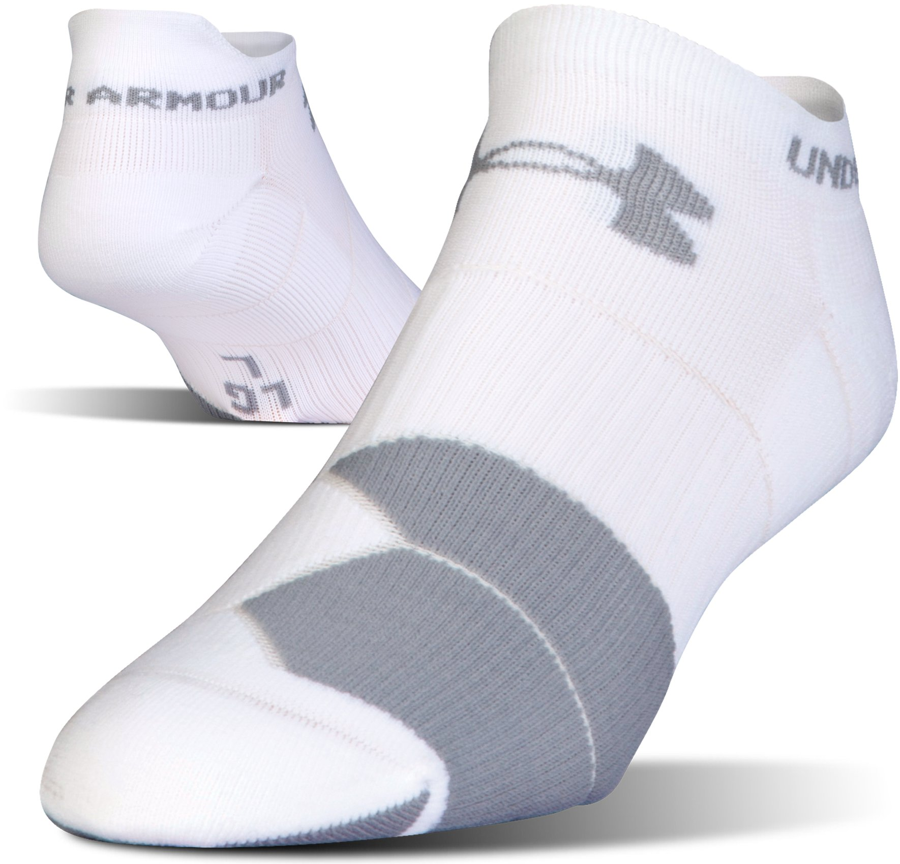 UA Run Cushion No Show Socks, White, undefined